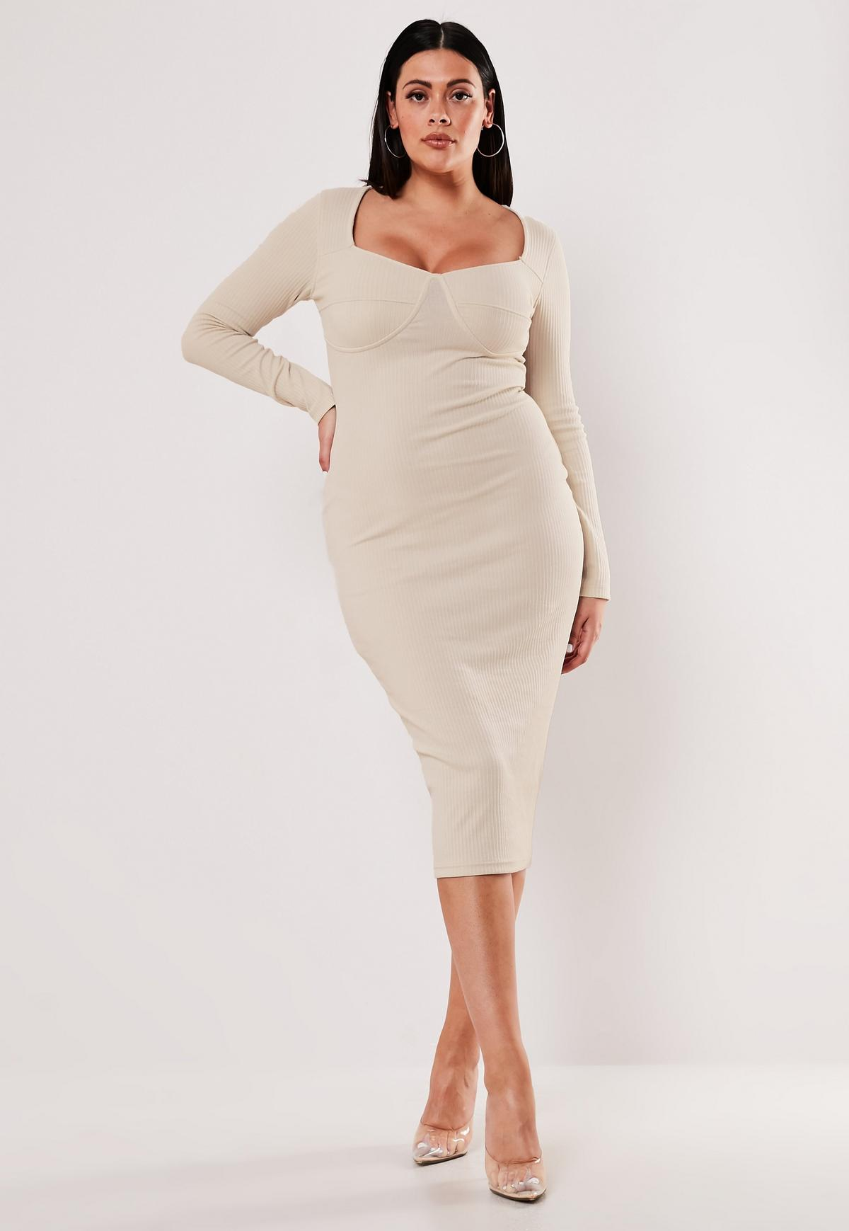 Plus Size Cream Bust Cup Detail Midi Dress