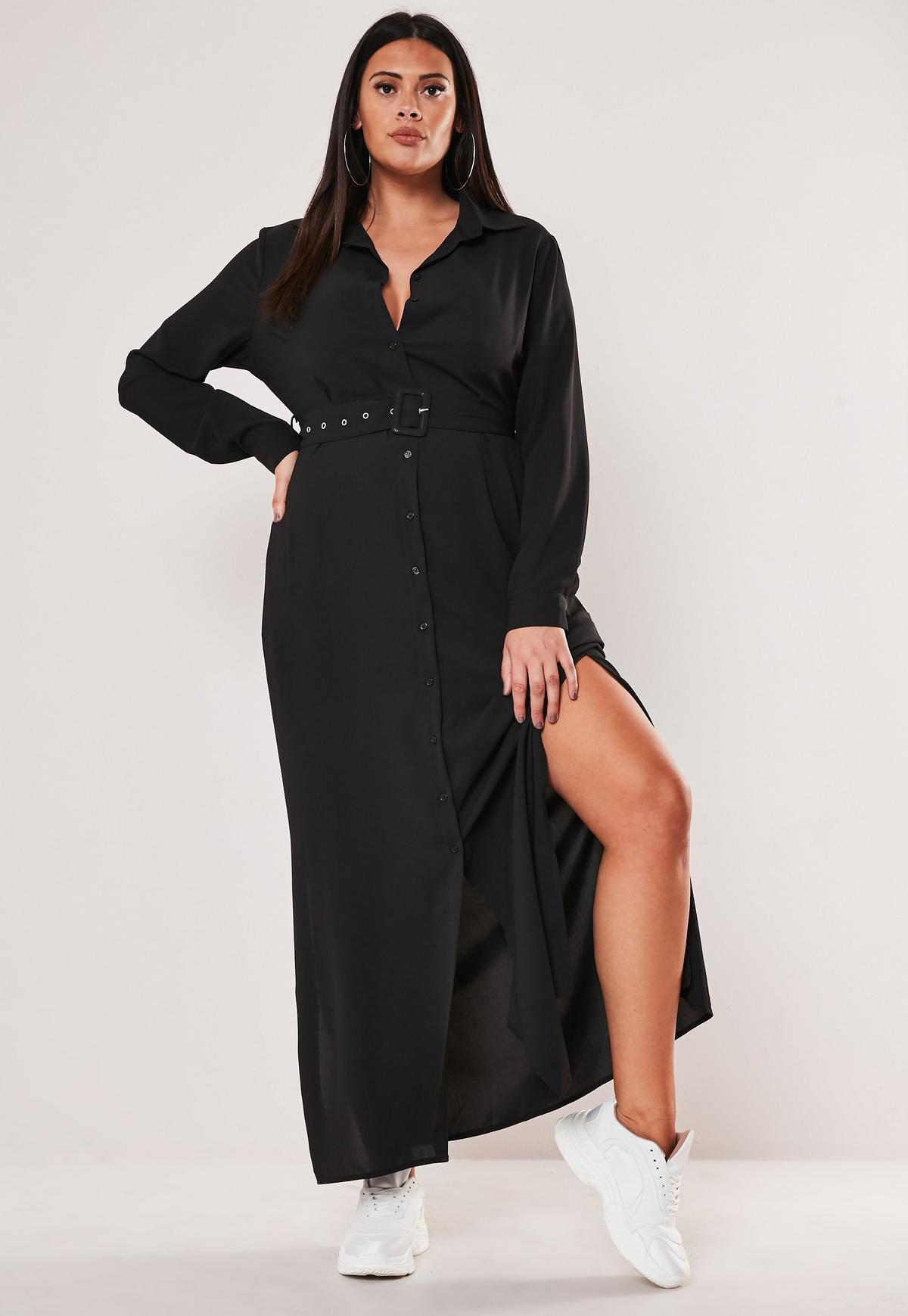 Plus Size Black Belted Maxi Shirt Dress