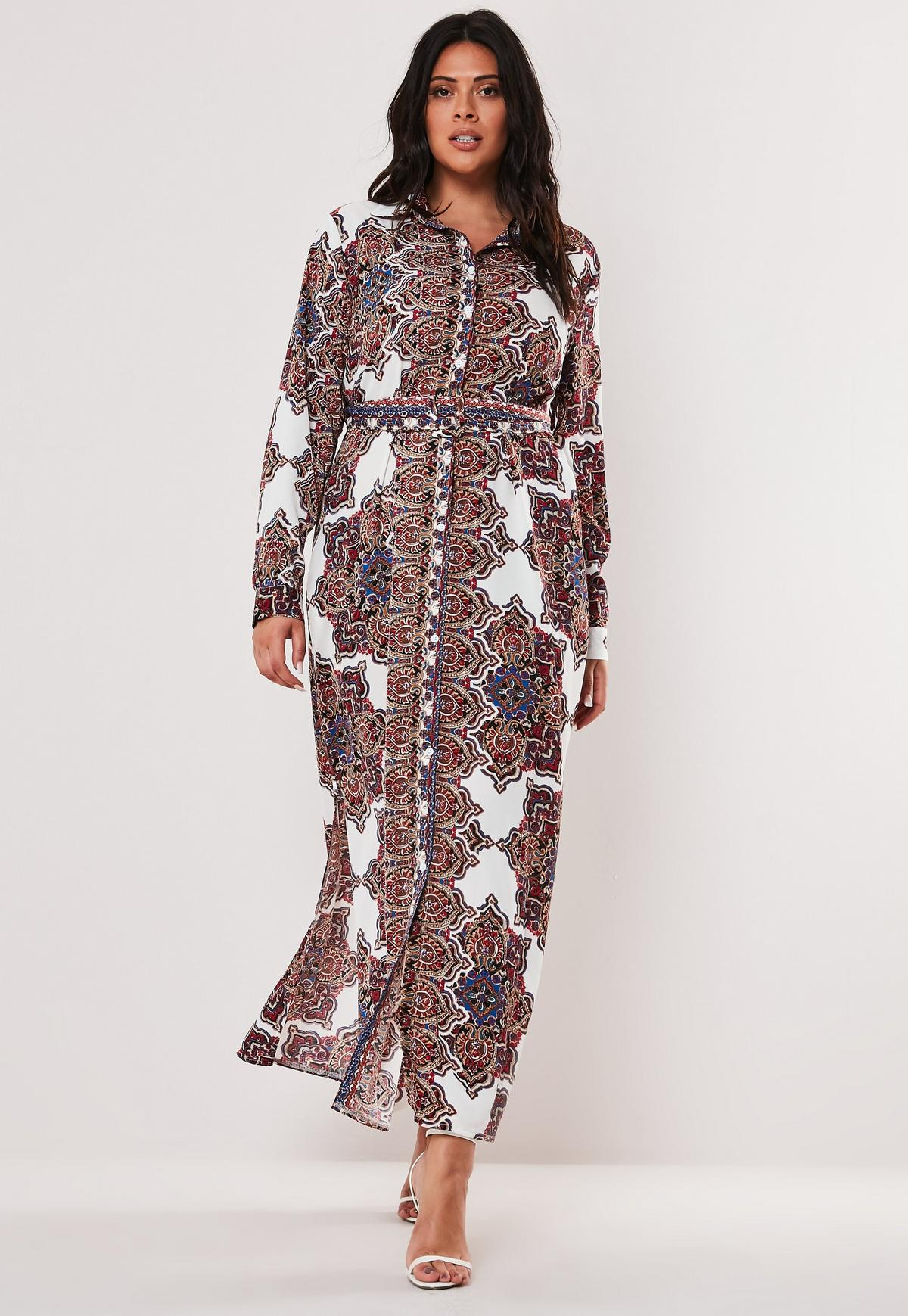 Plus Size White Paisley Print Maxi Shirt Dress