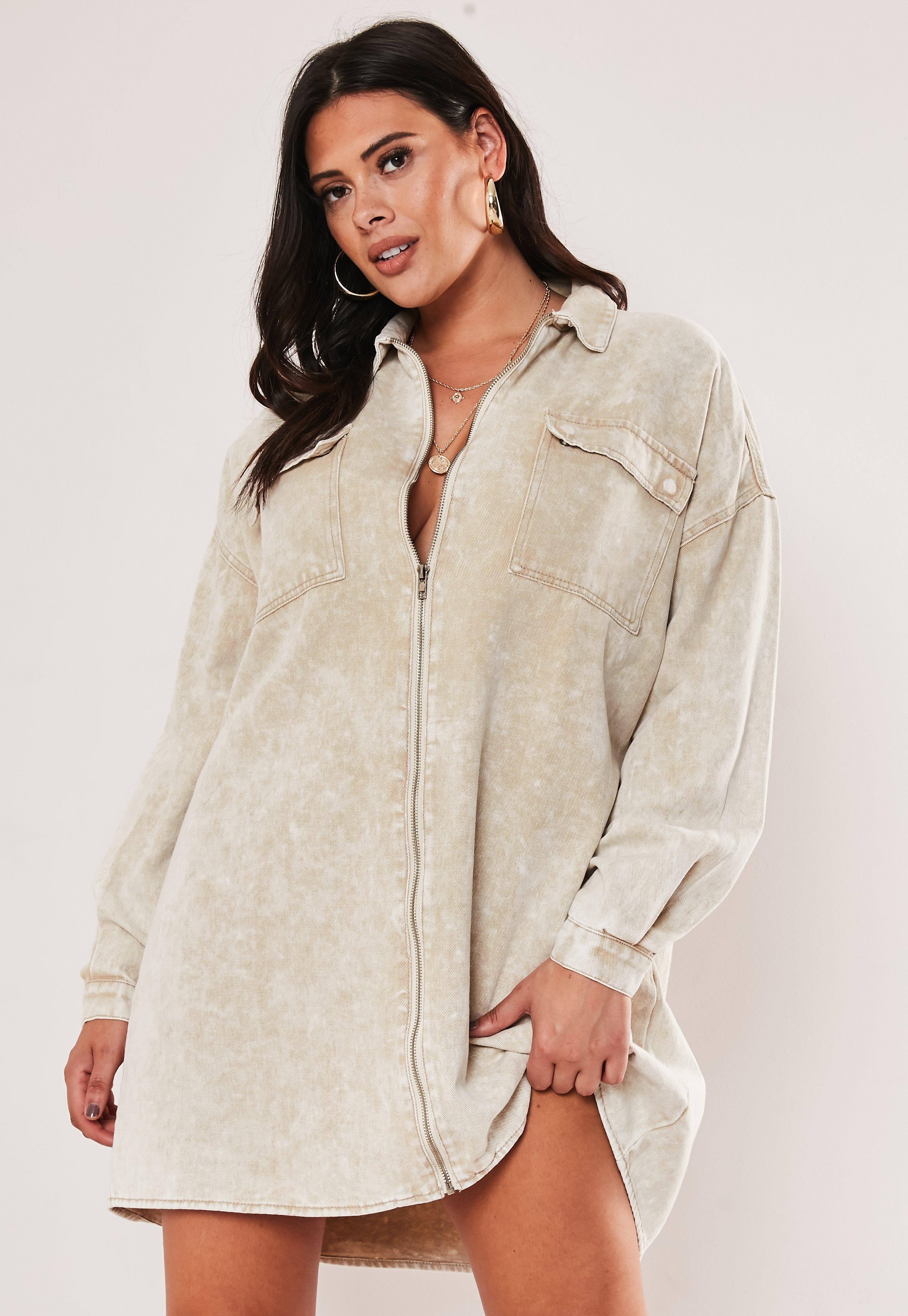 Plus Size Sand Denim Utility Shirt Dress