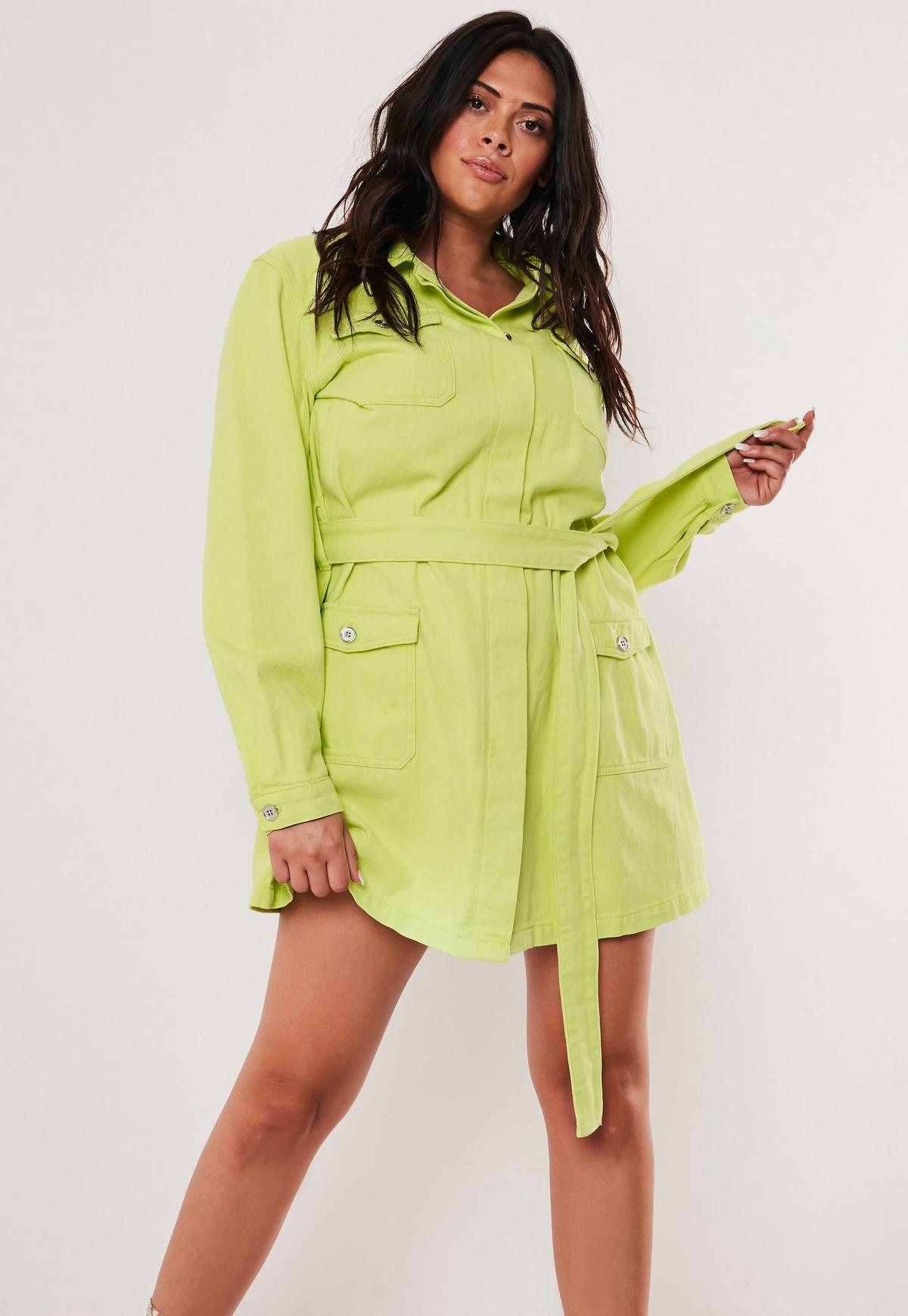 Plus Size Neon Lime Belted Long Denim Jacket