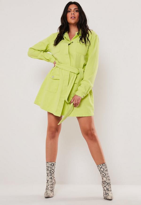 Plus Size Neon Lime Belted Long Denim Jacket