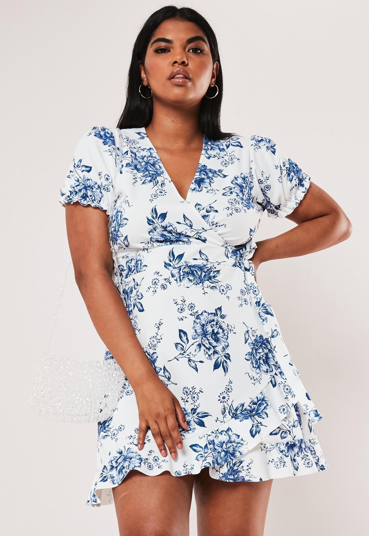 Plus Size White Porcelain Print Wrap Dress