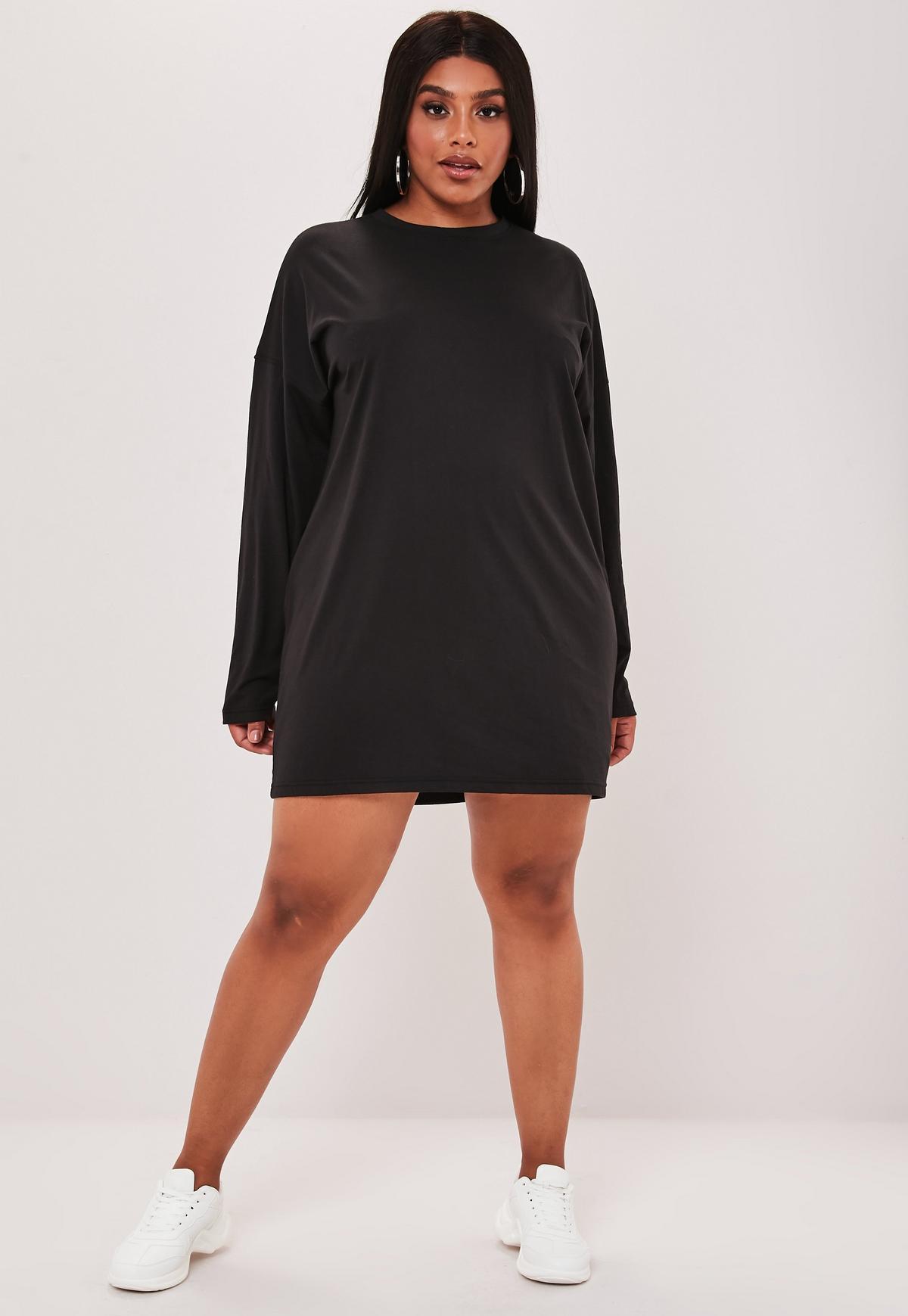 Plus Size Black Hawaii Graphic Long Sleeve T Shirt Dress