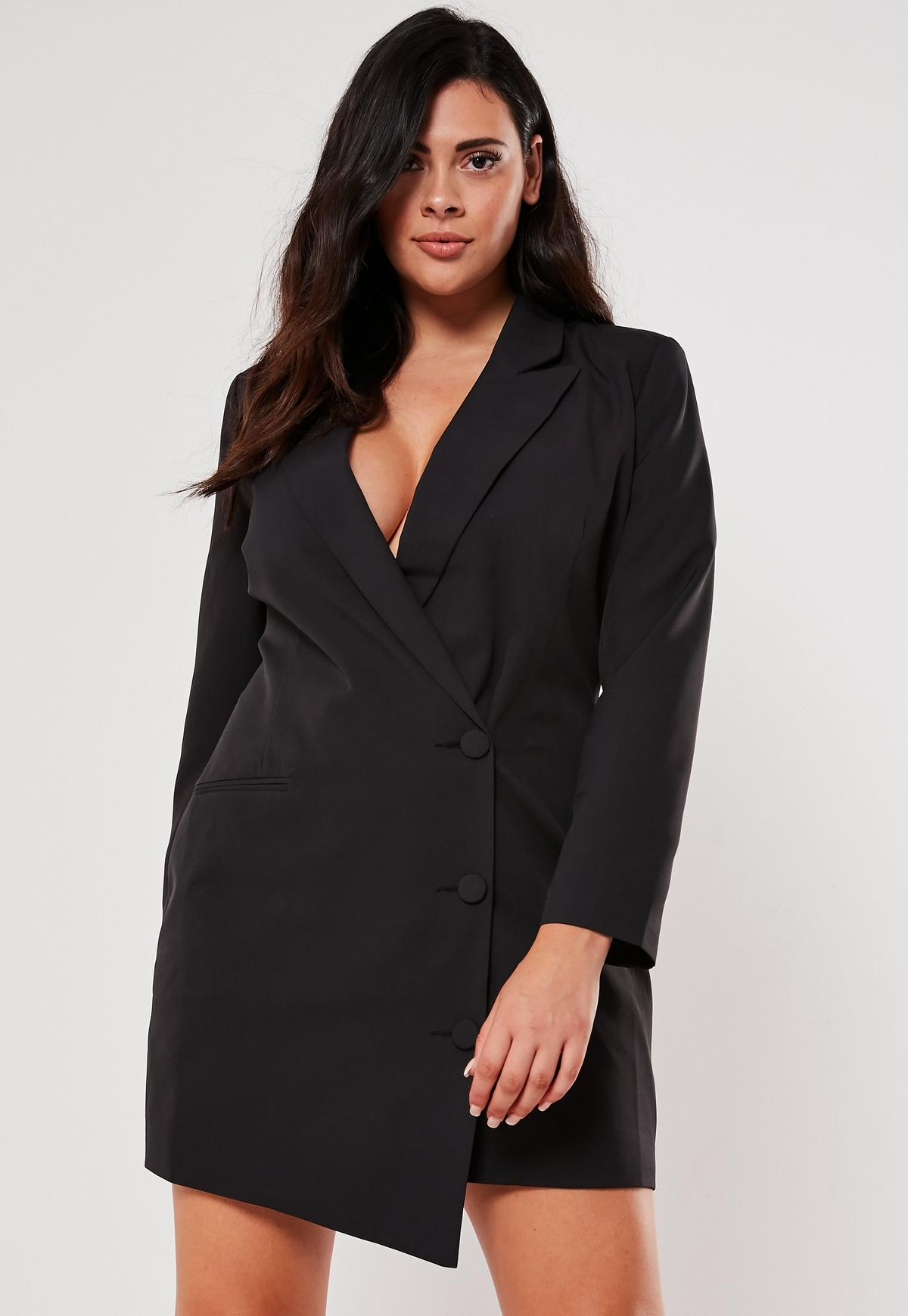Plus Size Black Button Front Blazer Dress