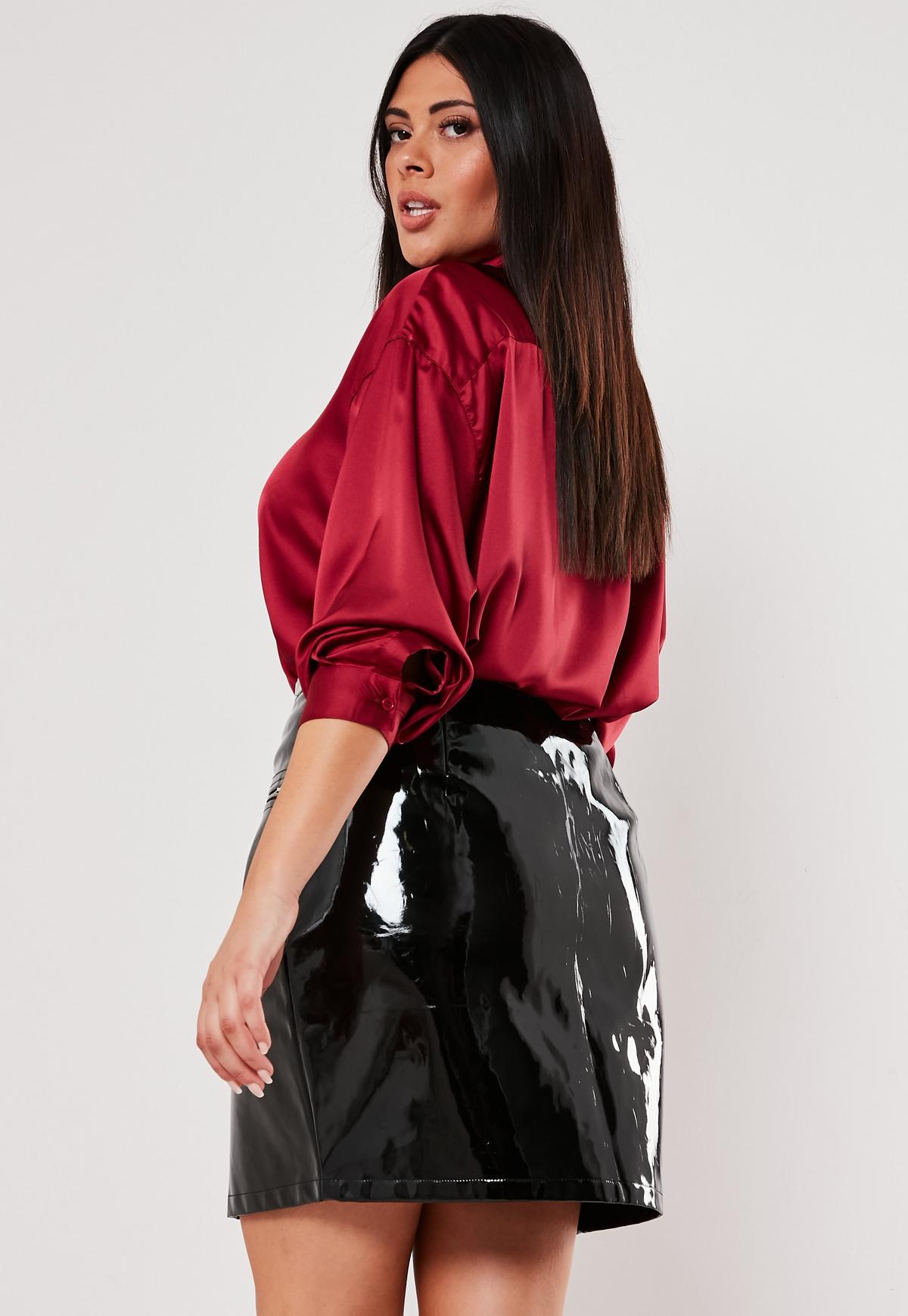 Plus Size Zip Front Vinyl Pants
