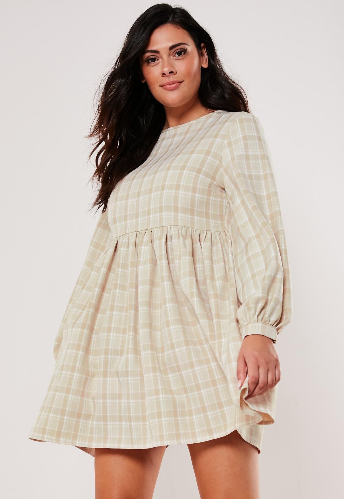 Plus Size Brown Plaid Smock Dress