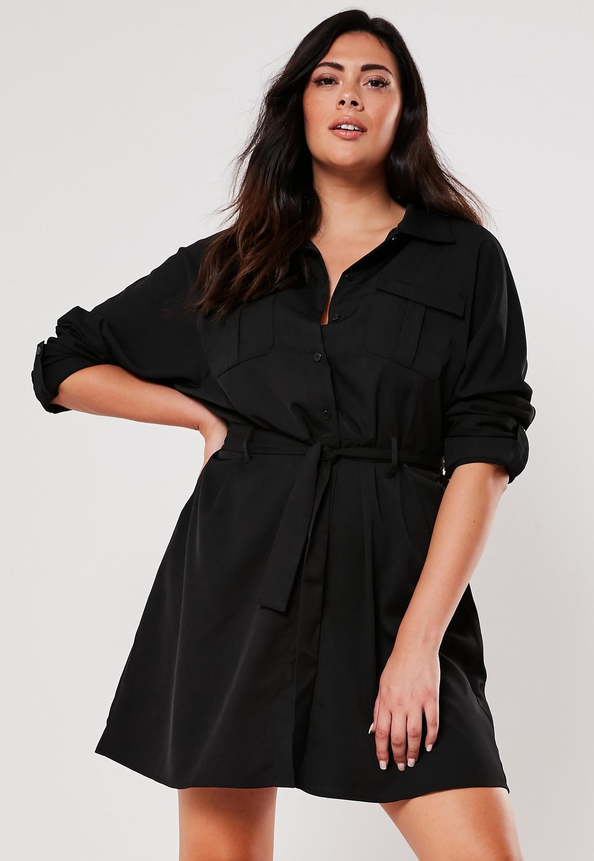 Plus Size Black Utility Shirt Dress