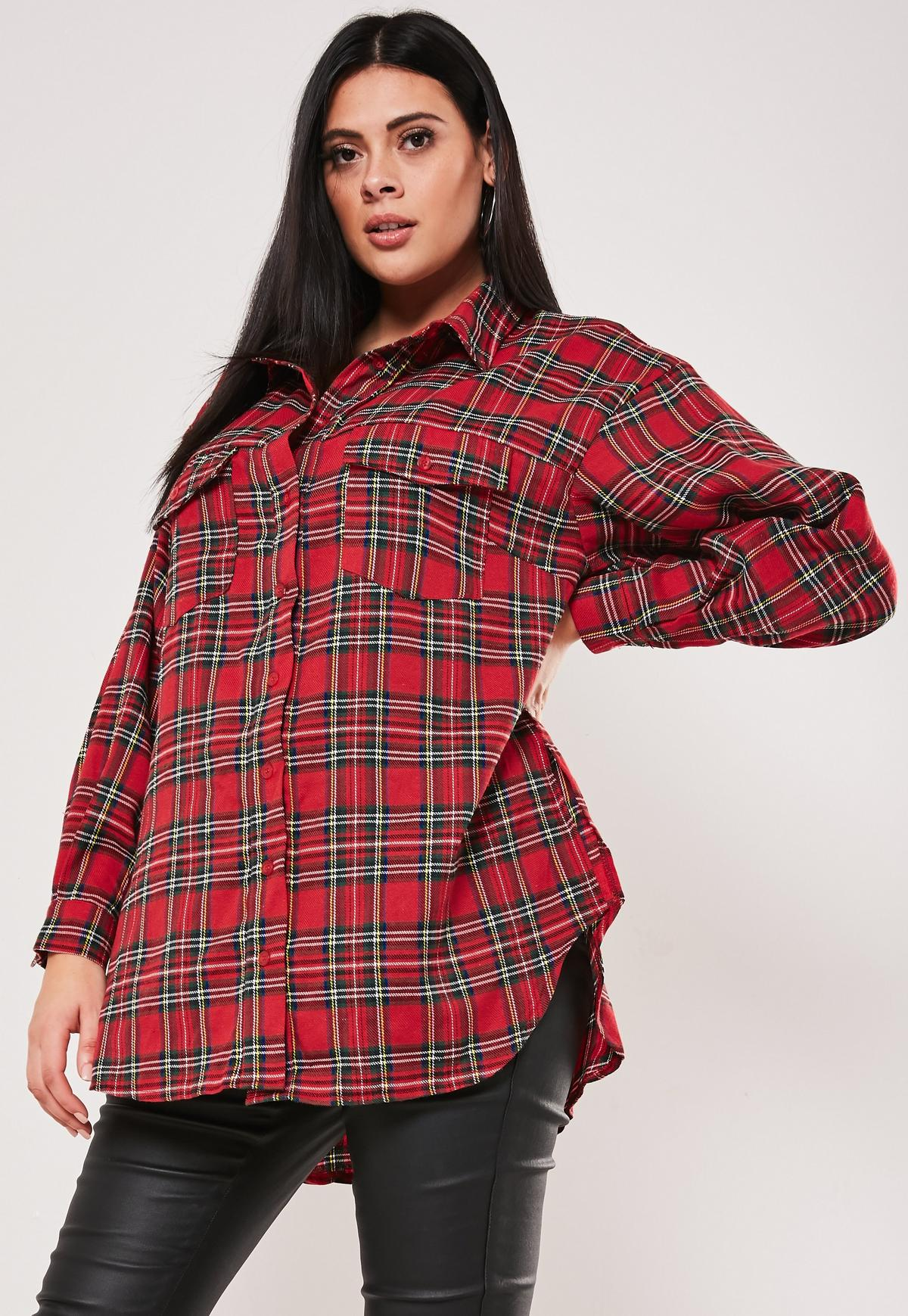 Plus Size Red Plaid Oversized Shirt