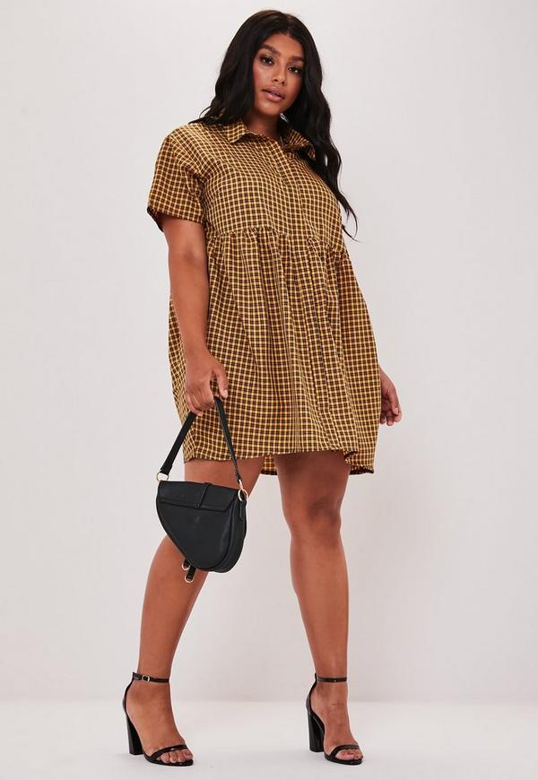 Plus Size Yellow Plaid Button Smock Dress