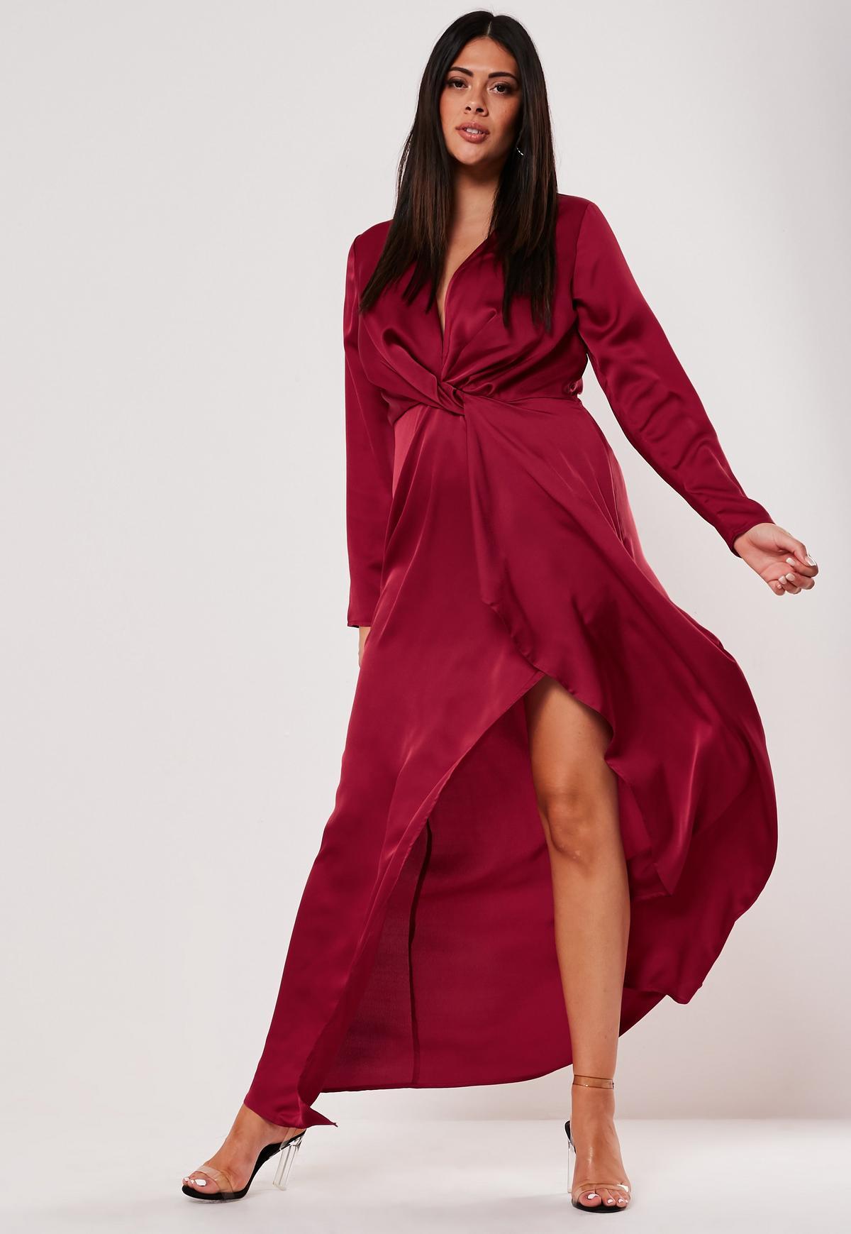 Plus Size Satin Thigh Split Maxi Dress