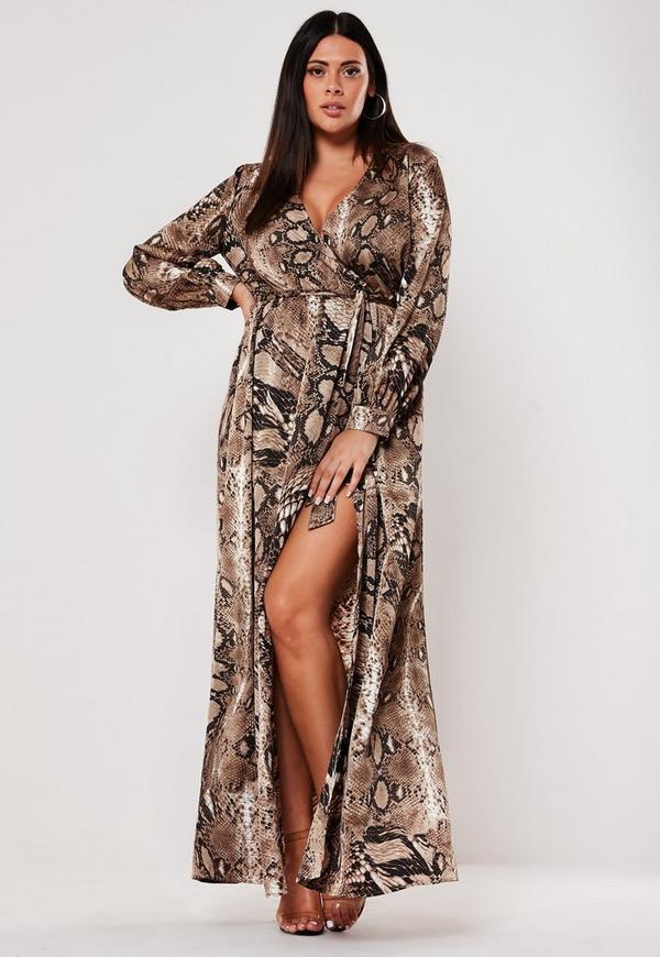 Plus Size Brown Snake Print Plunge Maxi Dress