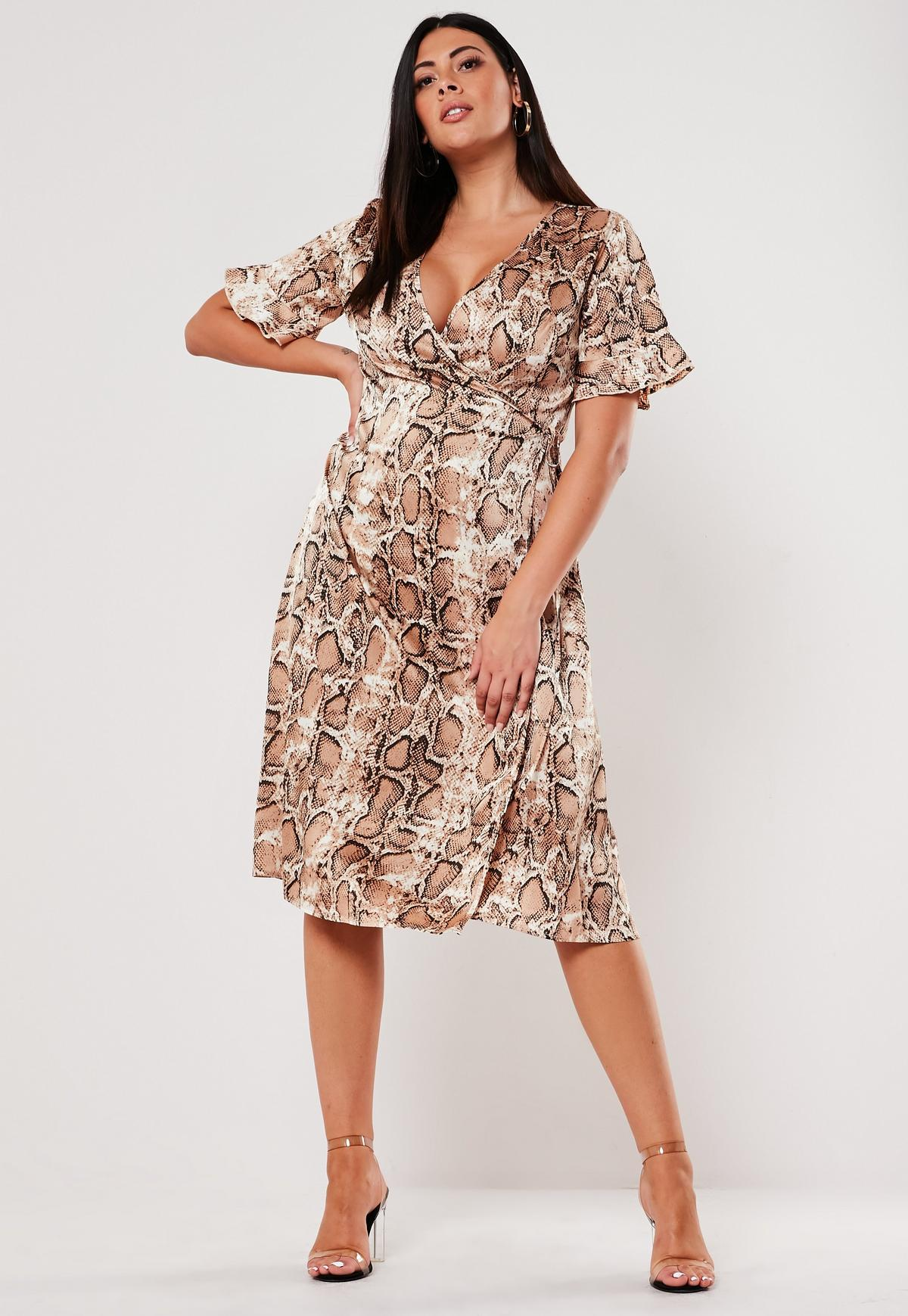 Plus Size Brown Snake Print Satin Wrap Midi Dress