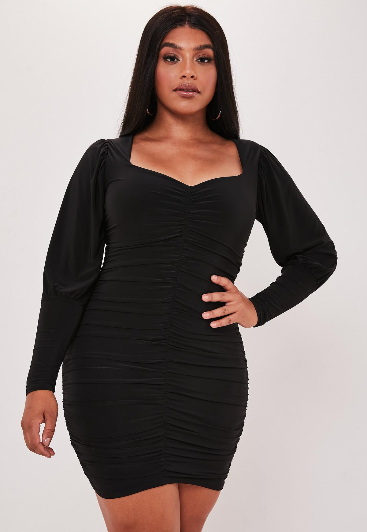 Plus Size Black Ruched Puff Sleeve Mini Dress