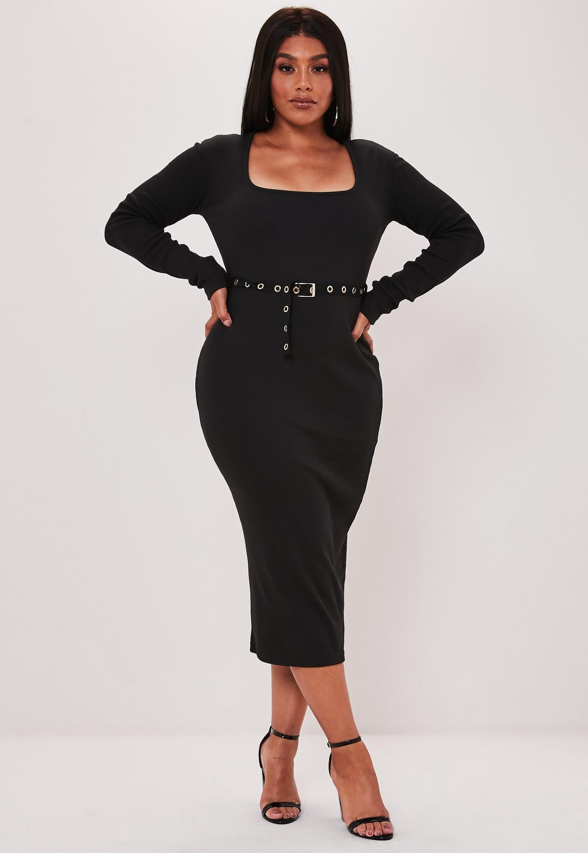 Plus Size Black Long Sleeve Eyelet Belt Midi Dress
