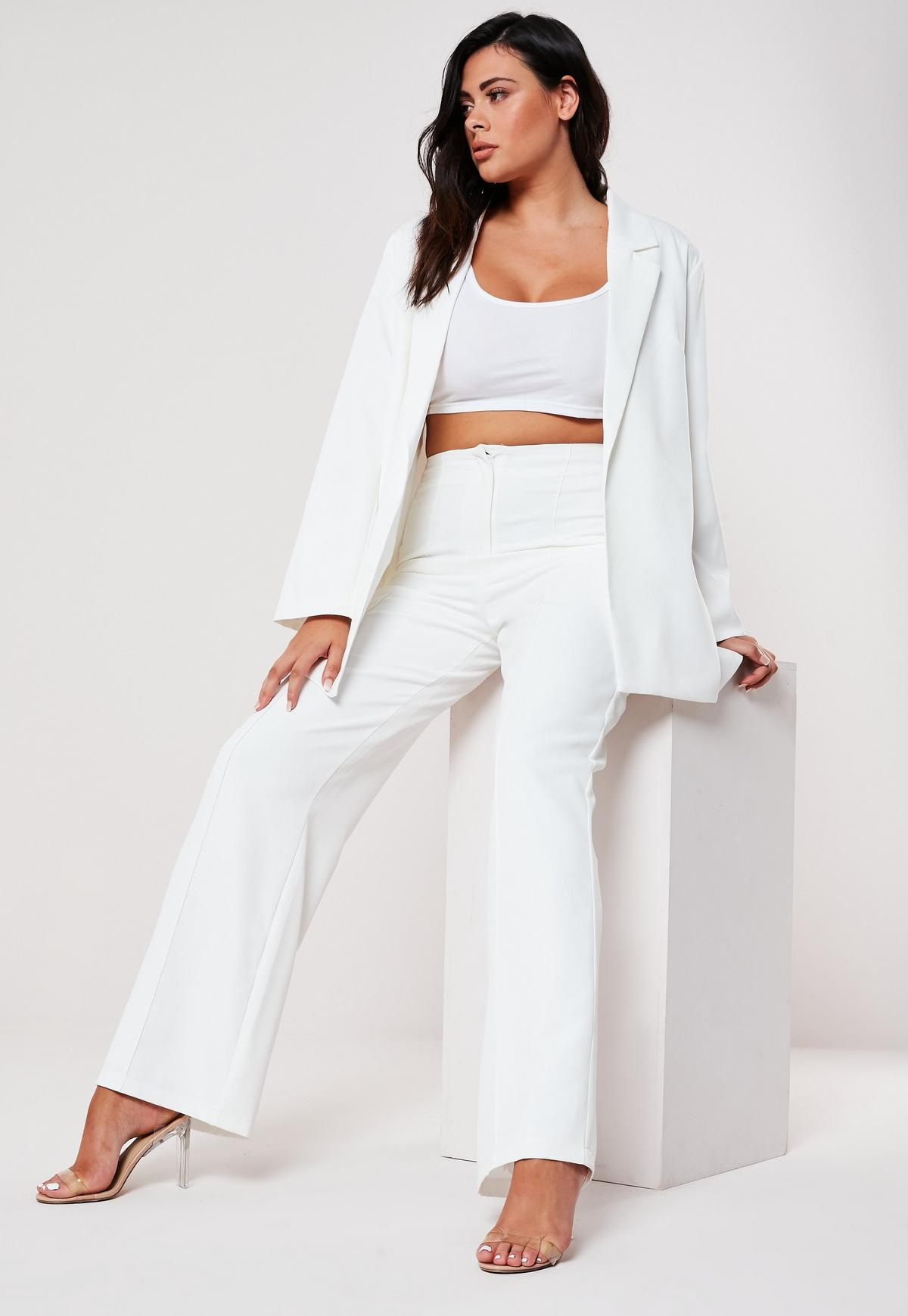 Plus Size White Seam Detail Straight Trousers