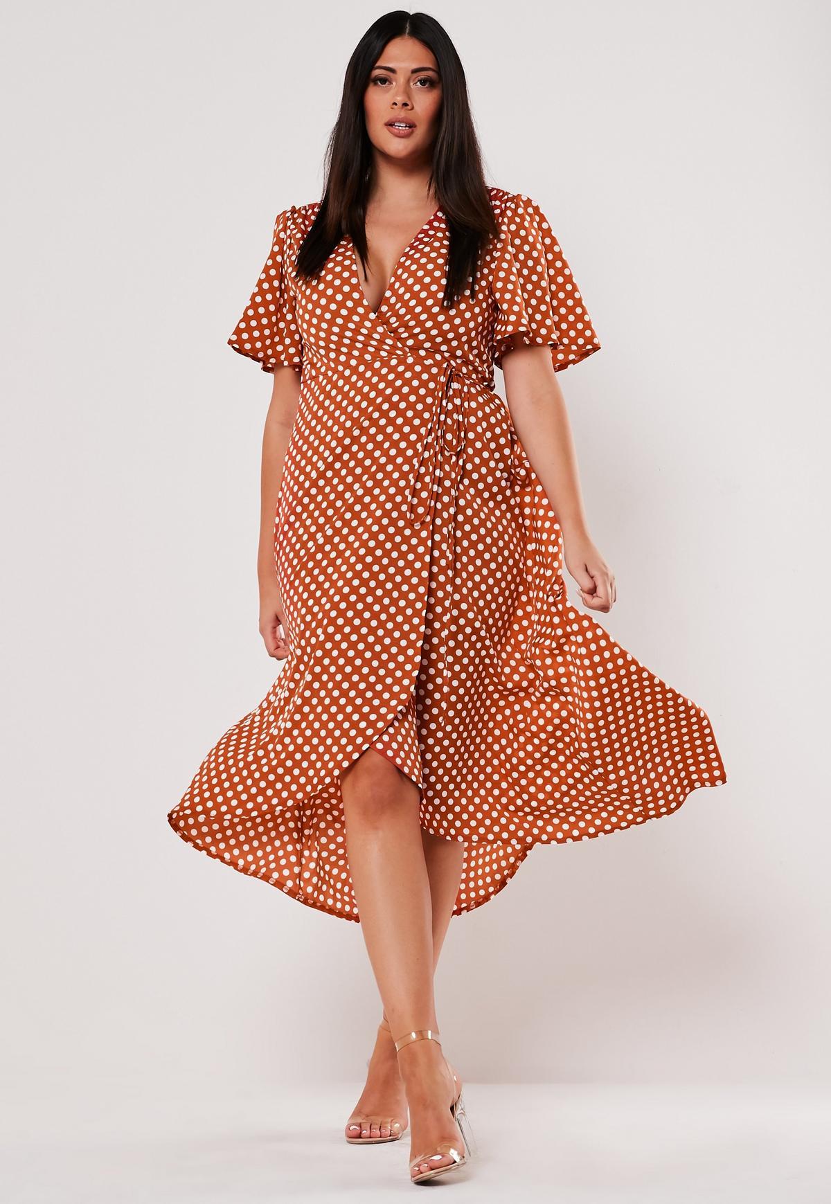 Plus Size Rust Polka Dot Wrap Midi Dress