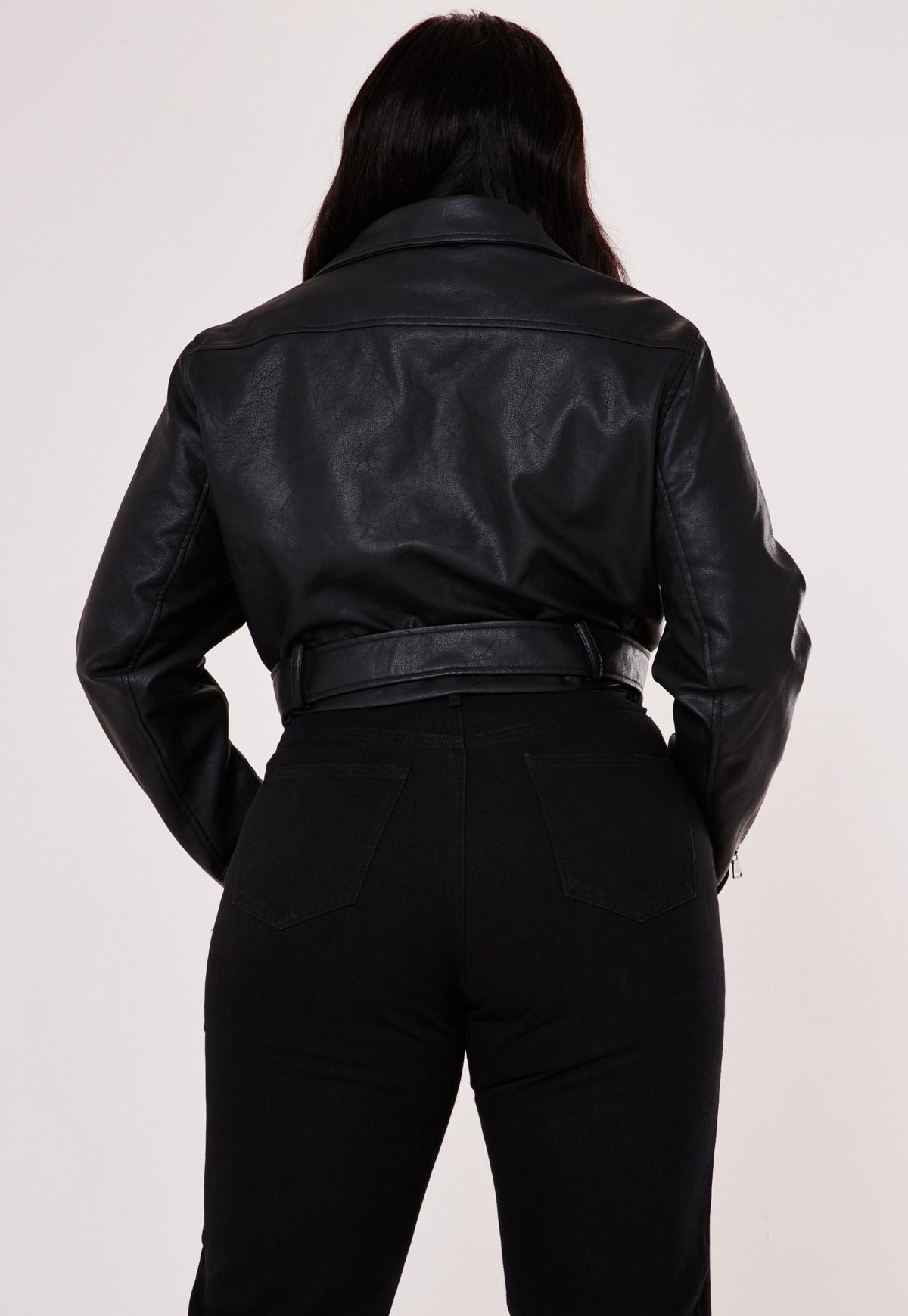 Plus Size Premium Black Cropped Faux Leather Biker Jacket