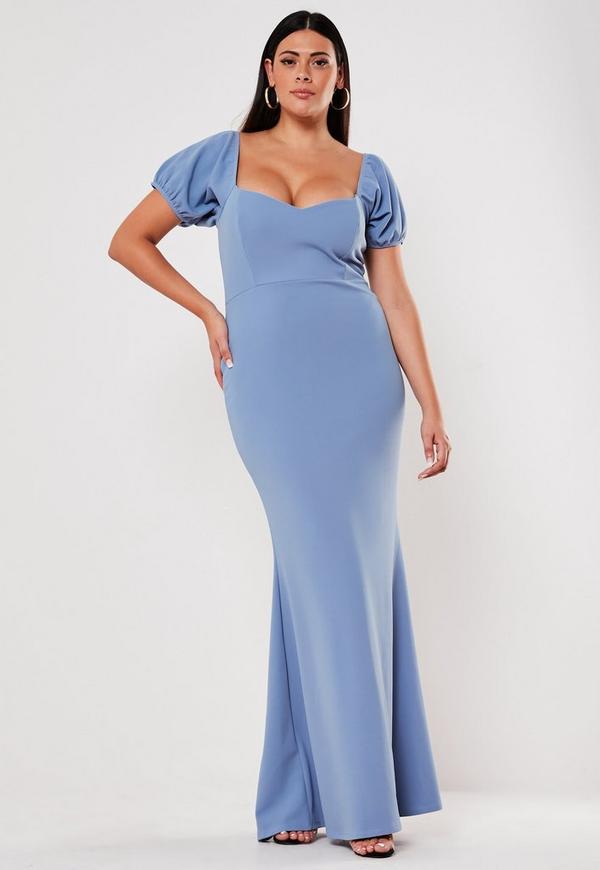 Plus Size Bridesmaid Blue Sweetheart Puff Sleeve Maxi Dress