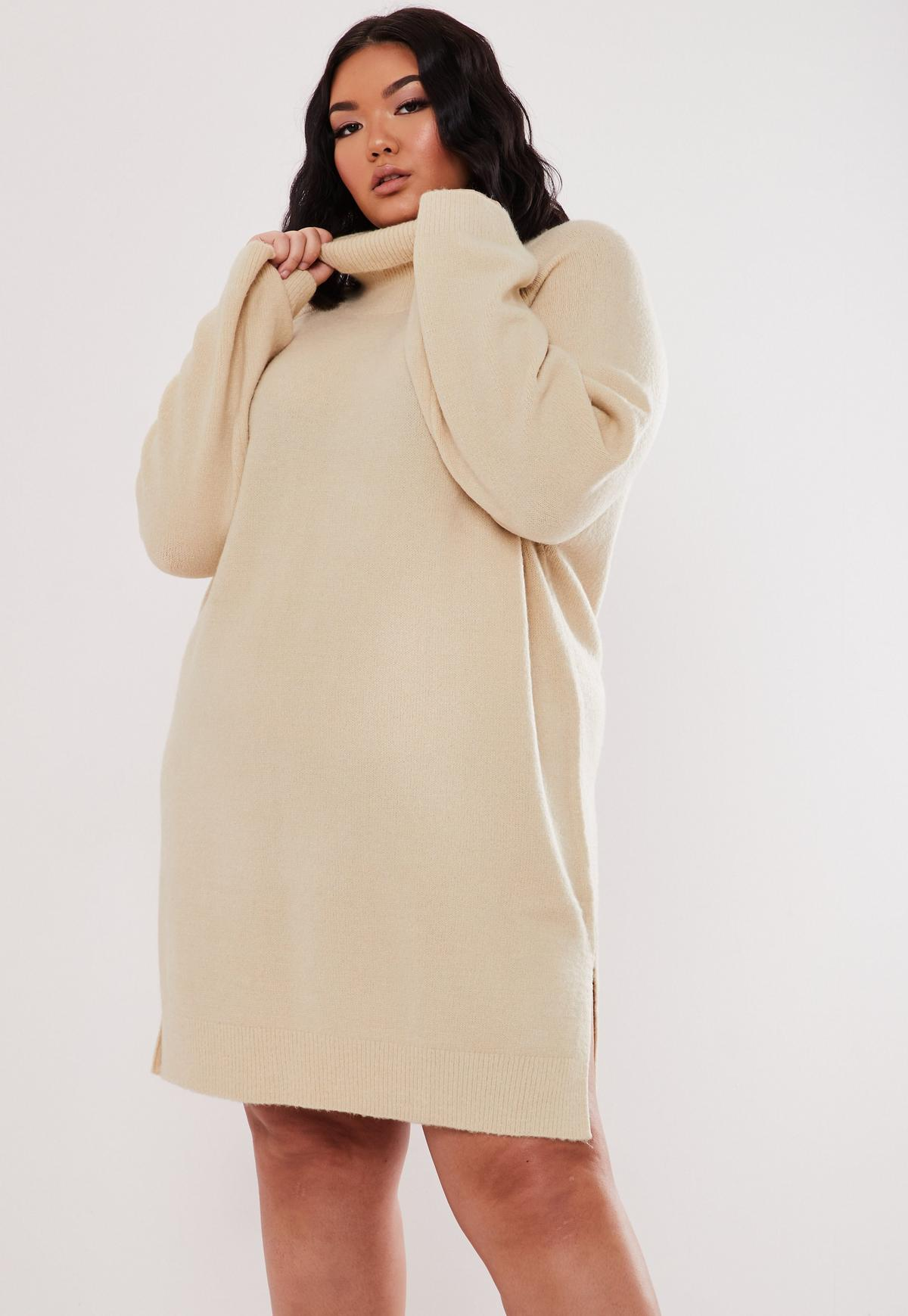 Plus Size Stone High Neck Sweater Dress