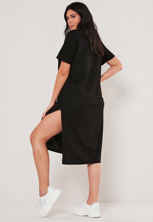 Plus Size Black Basic Midi T Shirt Dress