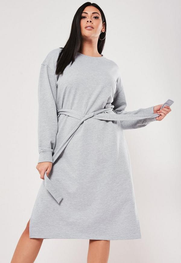 Plus Size Gray Midi Sweater Dress