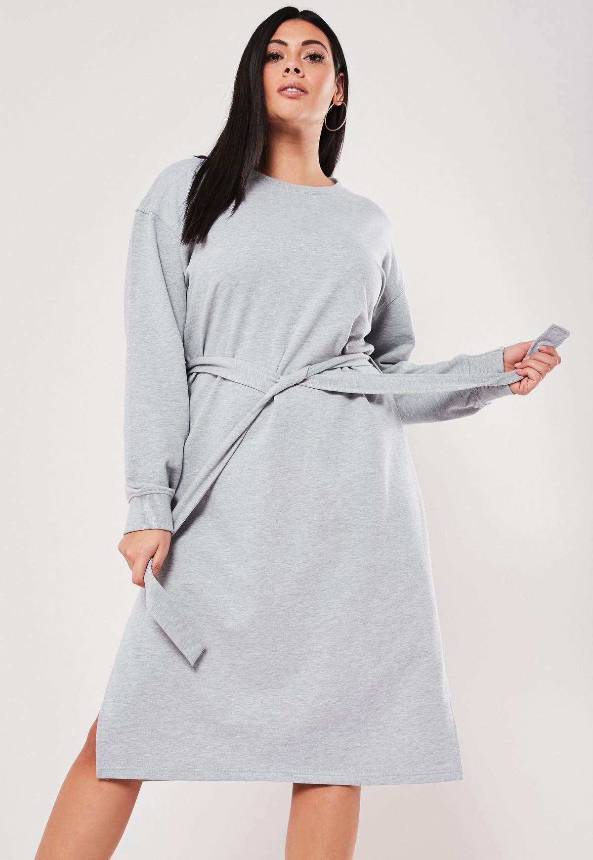 Plus Size Gray Midi Sweater Dress