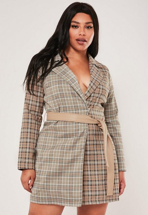 Plus Size Brown Plaid Blazer Dress