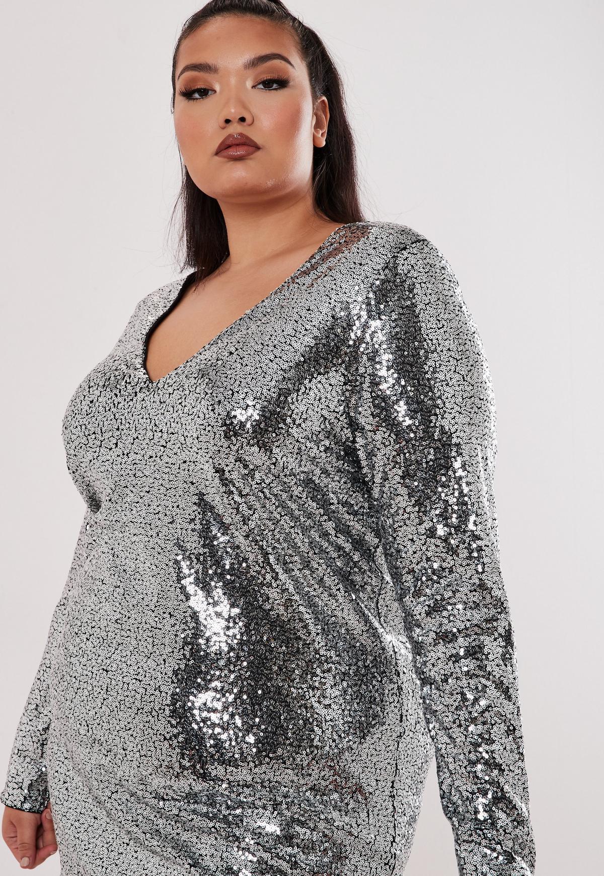 Plus Size Silver Sequin Plunge Shift Dress