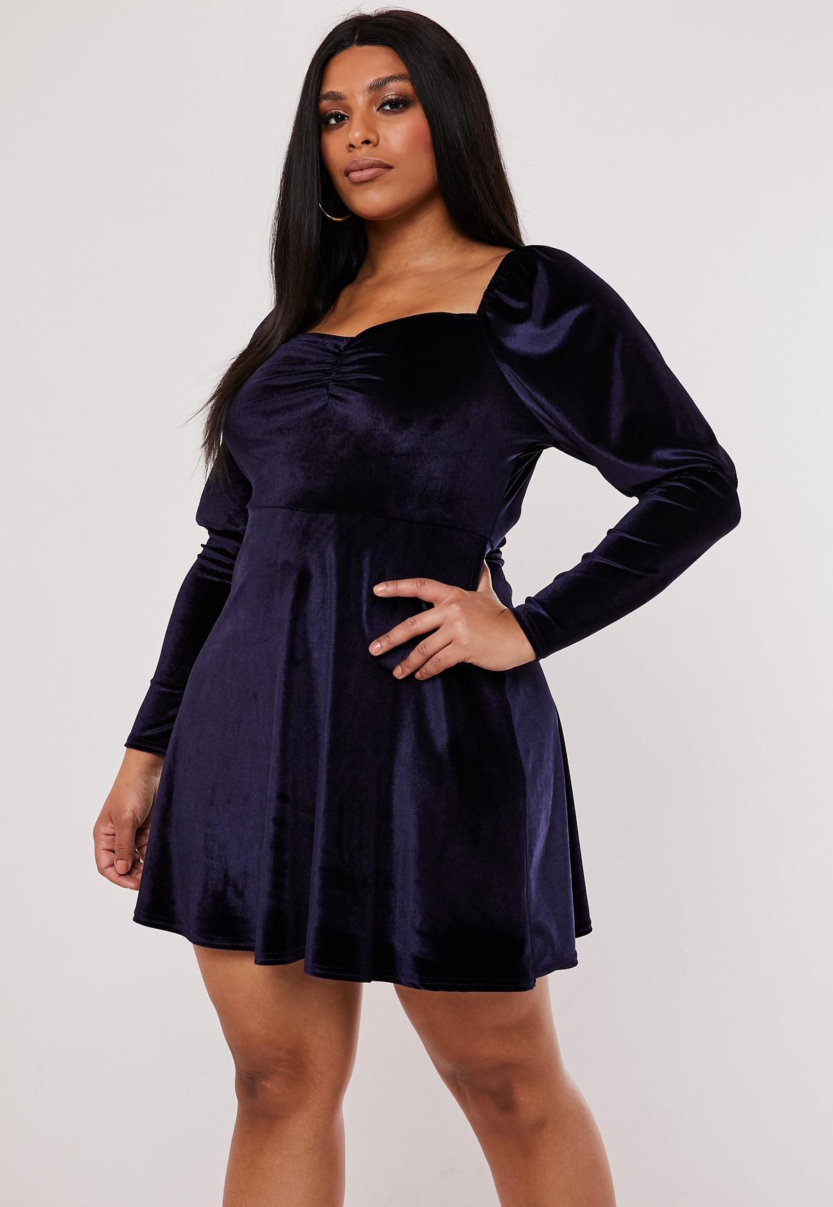 Plus Size Navy Velvet Milkmaid Skater Dress