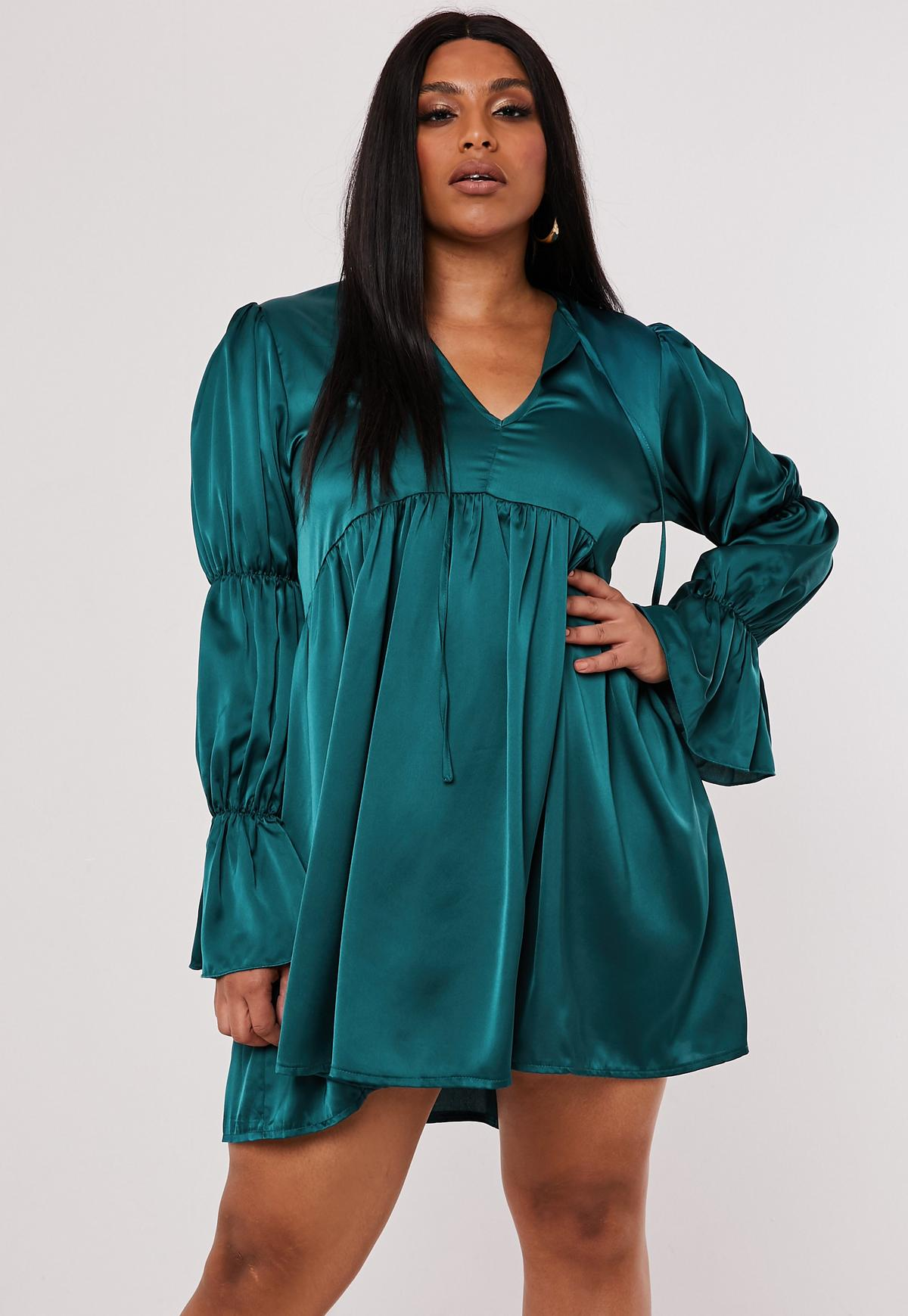 Plus Size Teal Satin Tiered Sleeve Smock Dress