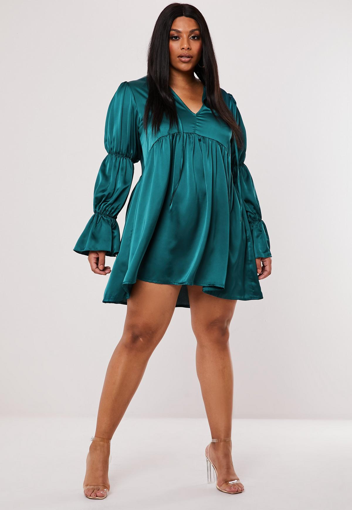 Plus Size Teal Satin Tiered Sleeve Smock Dress Missguided
