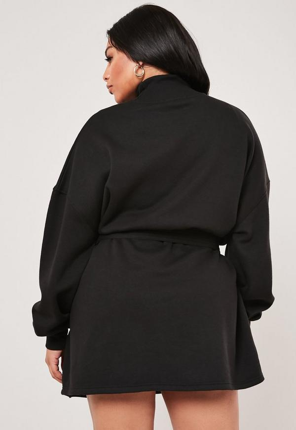 Plus Size Black Tie Waist Sweater Dress