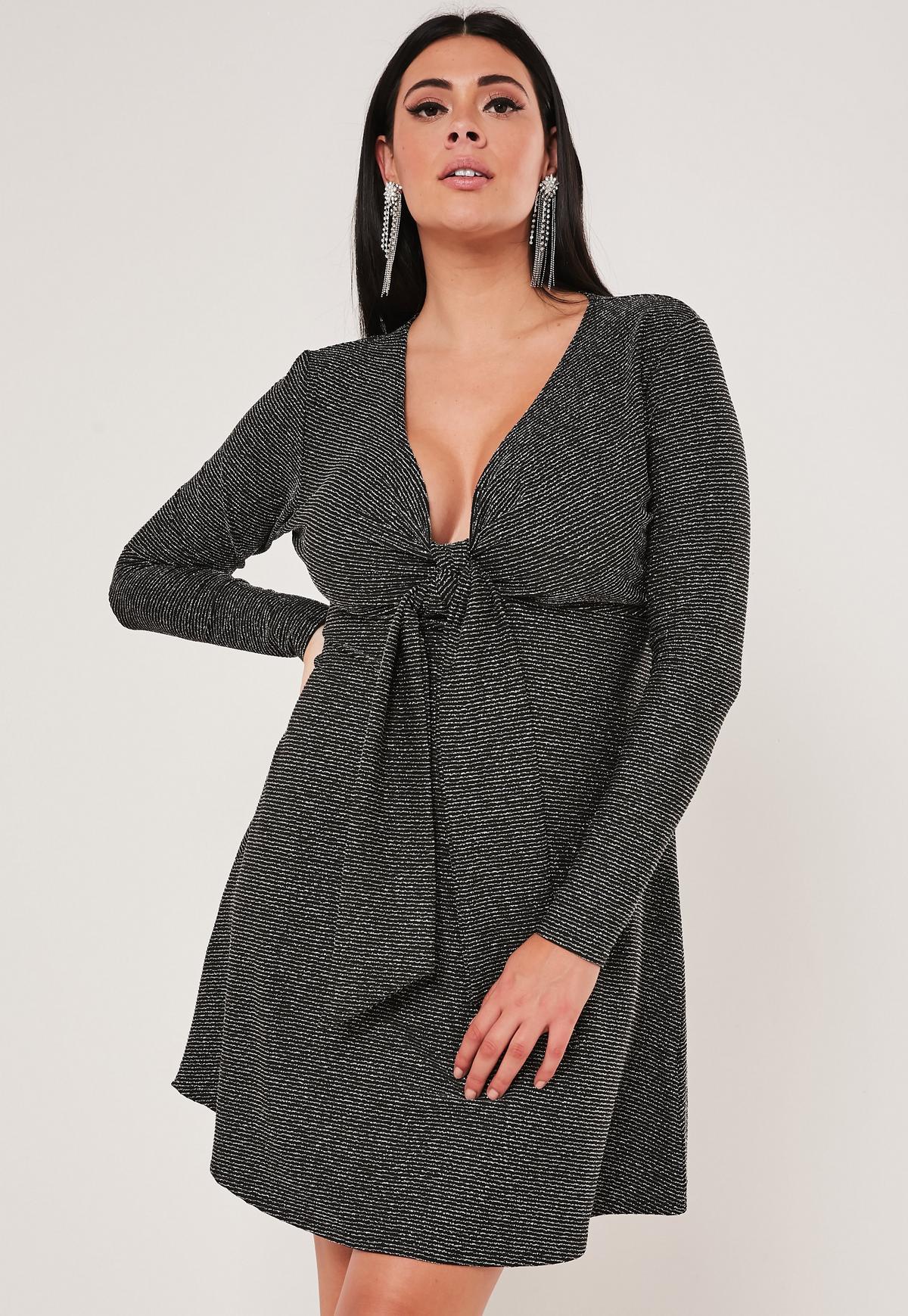 Plus Size Black Glitter Skater Dress