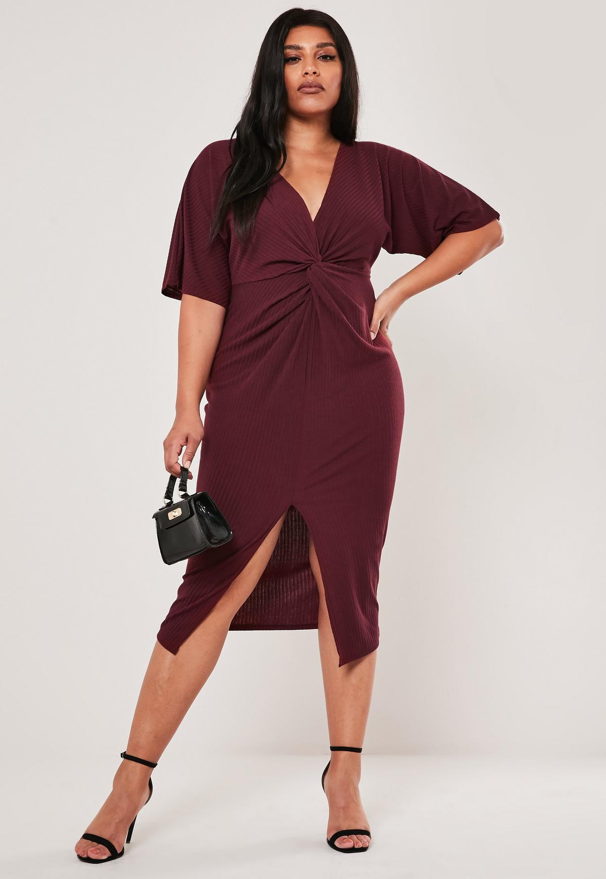 Plus Size Burgundy Knot Front Rib Midi Dress