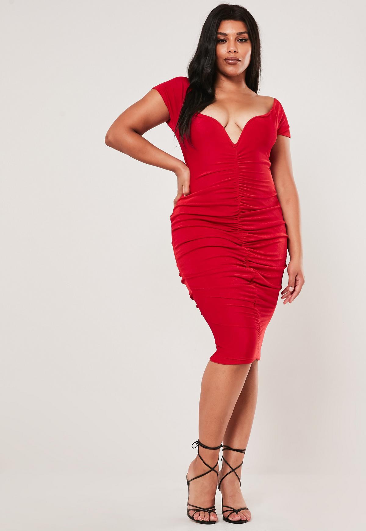 Plus Size Red Ruched Bardot Midi Dress