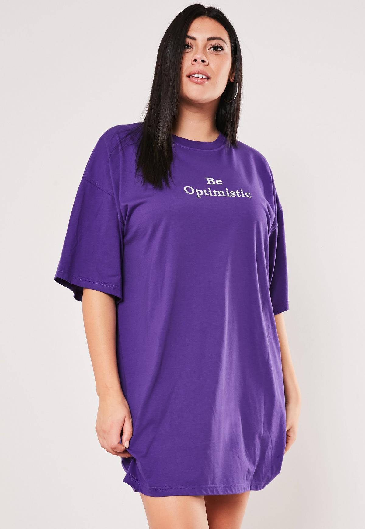 Plus Size Purple Oversized Slogan T Shirt Dress