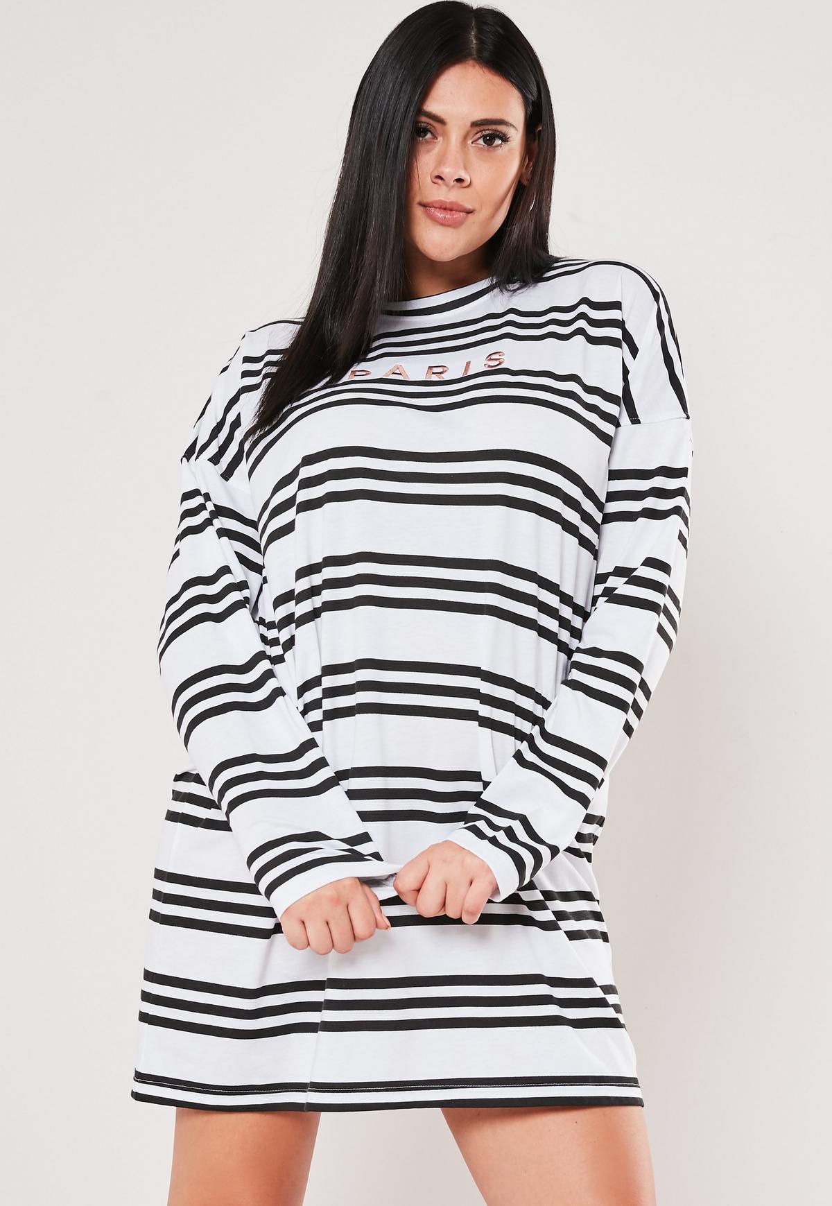 Plus Size White Stripe Oversized T Shirt Dress