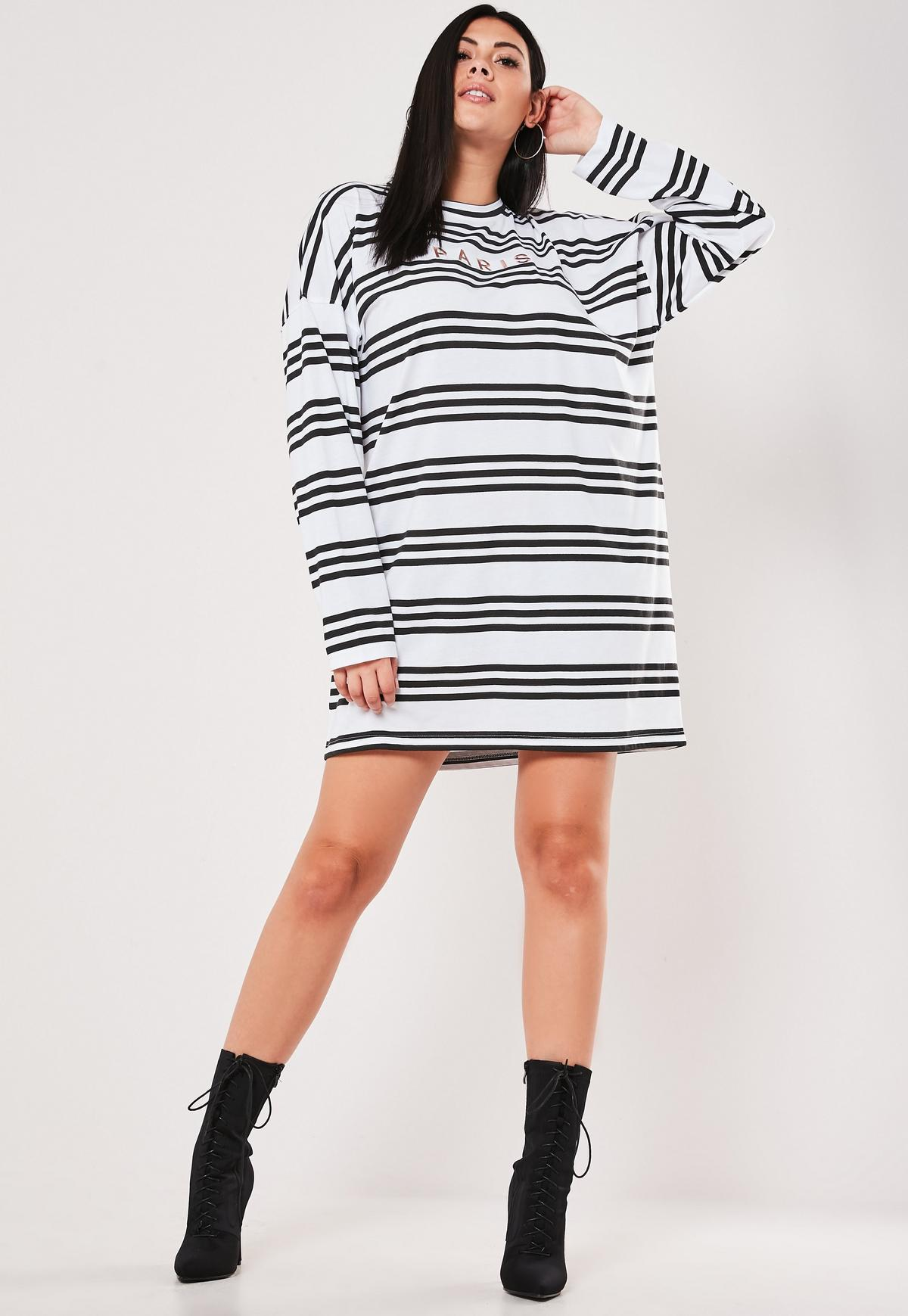 Plus Size White Stripe Oversized T Shirt Dress