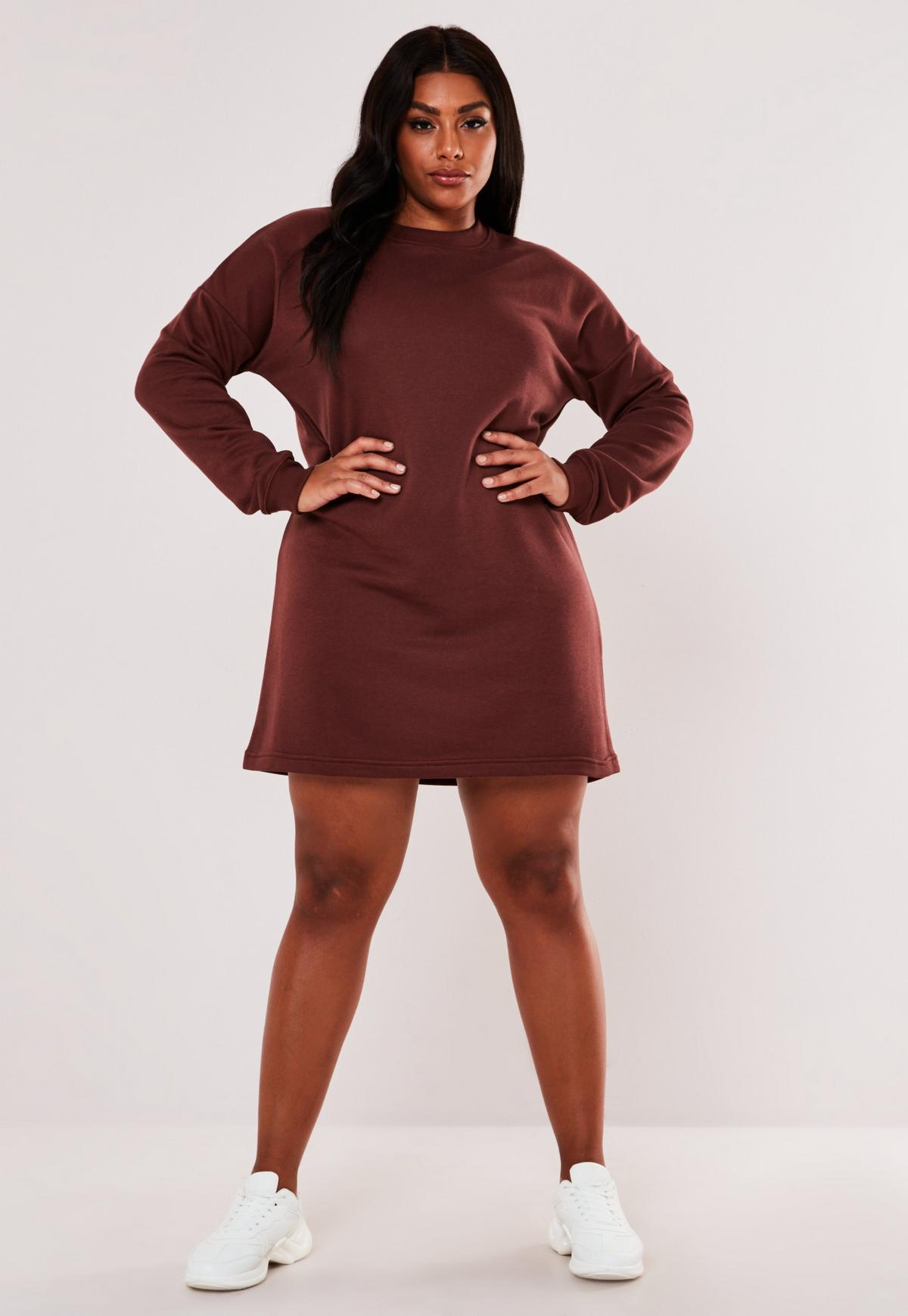 Plus Size Burgundy Oversized Sweater Dress