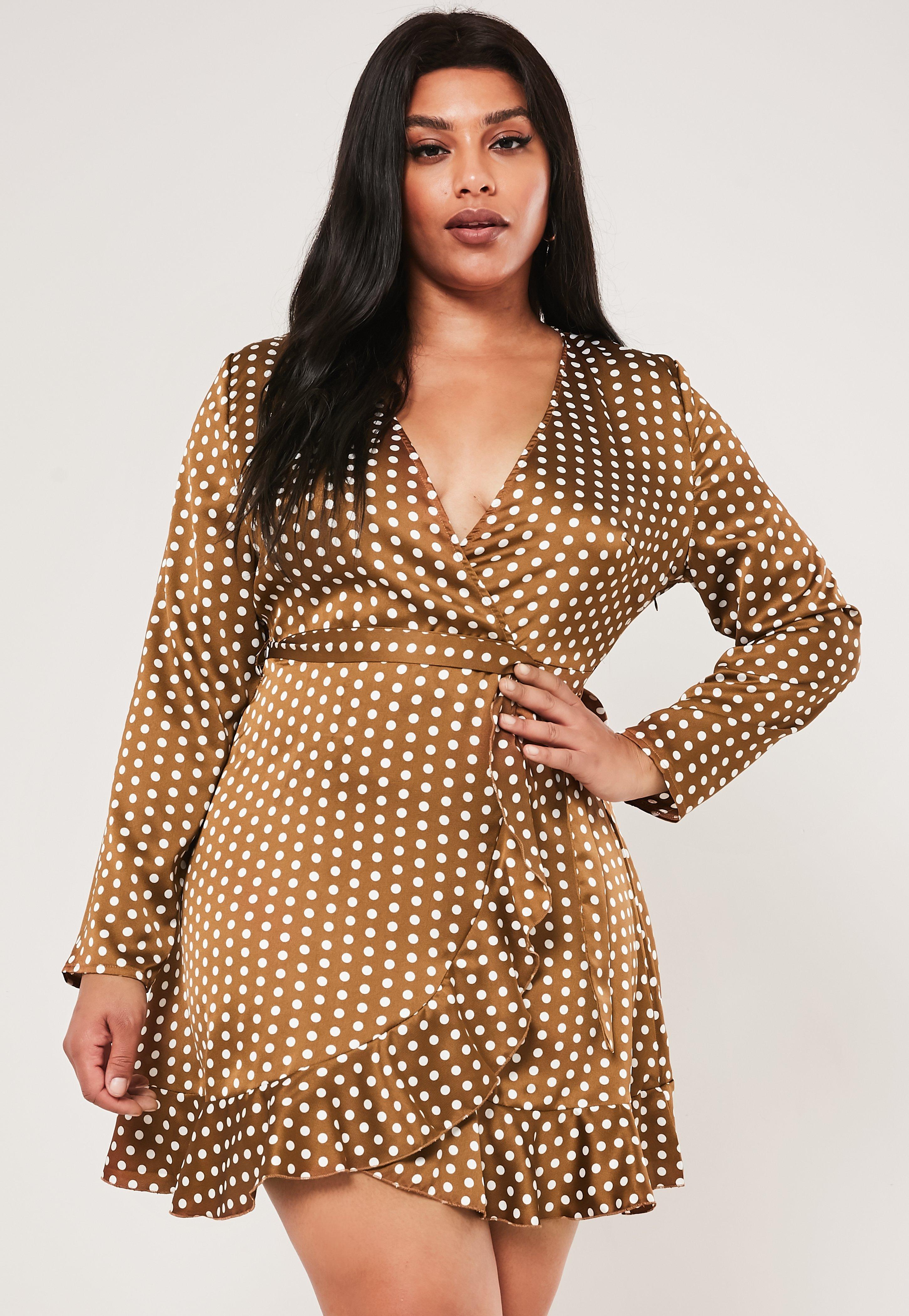 Plus Size Chocolate Polka Dot Satin Wrap Tea Dress