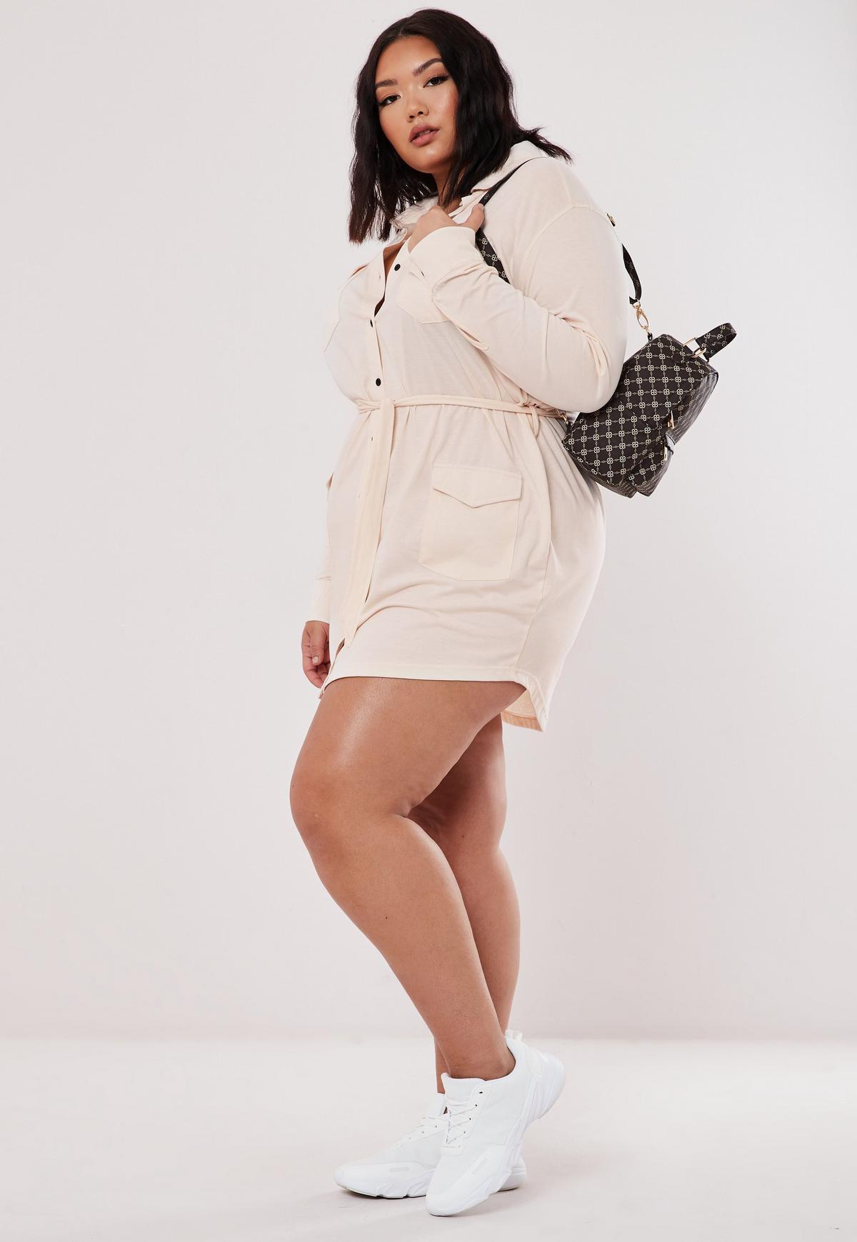 Plus Size Cream Utility Shirt Dress