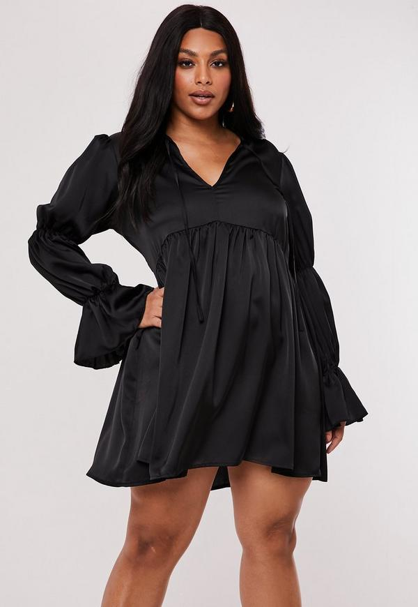 Plus Size Black Satin Tiered Sleeve Smock Dress