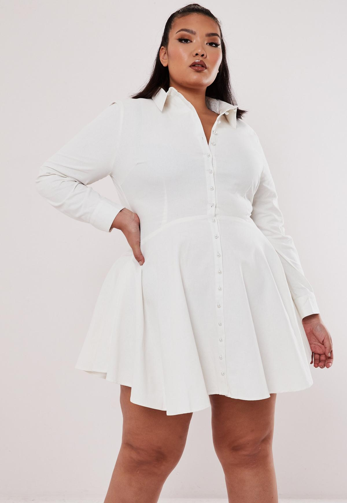 Plus Size White Pearl Button Shirt Dress