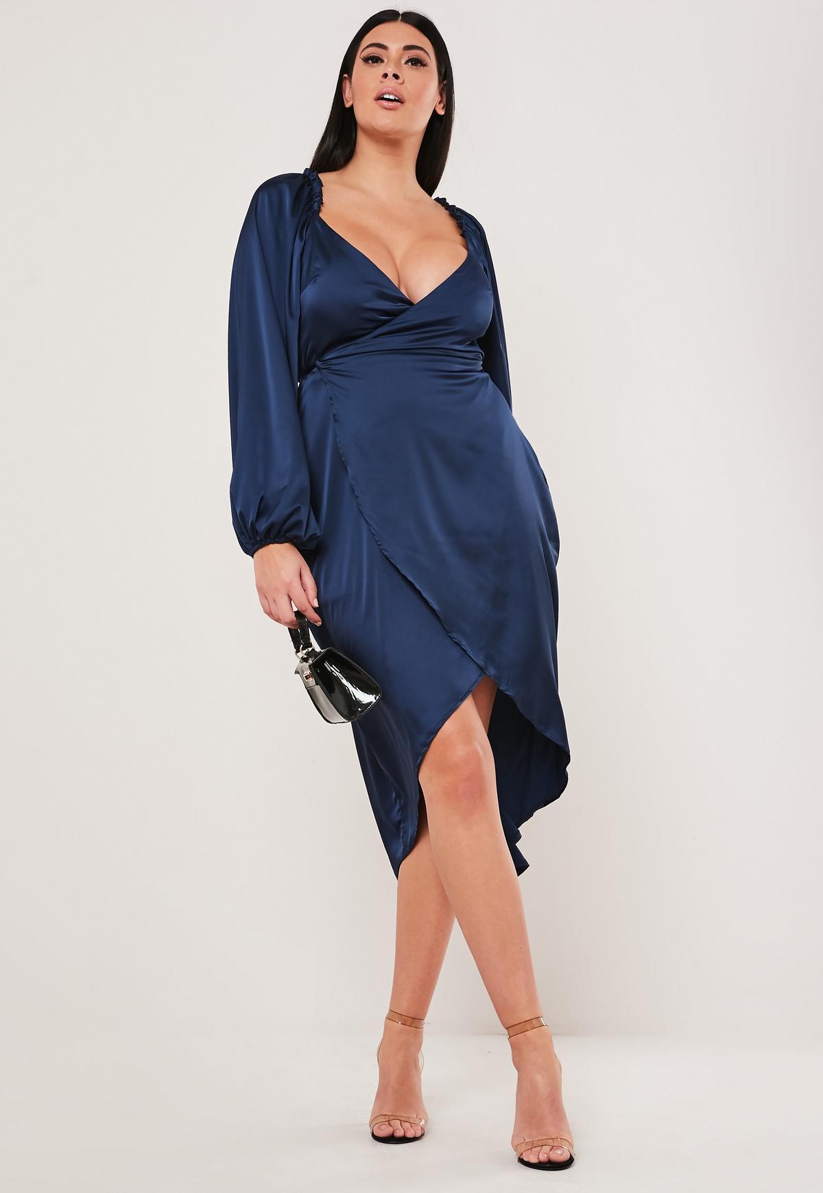 Plus Size Navy Puff Sleeve Satin Midi Dress