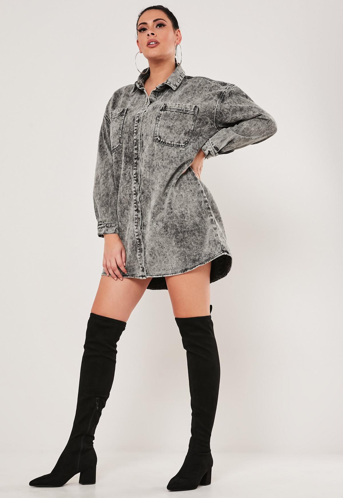 Plus Size Black Oversized Denim Shirt Dress