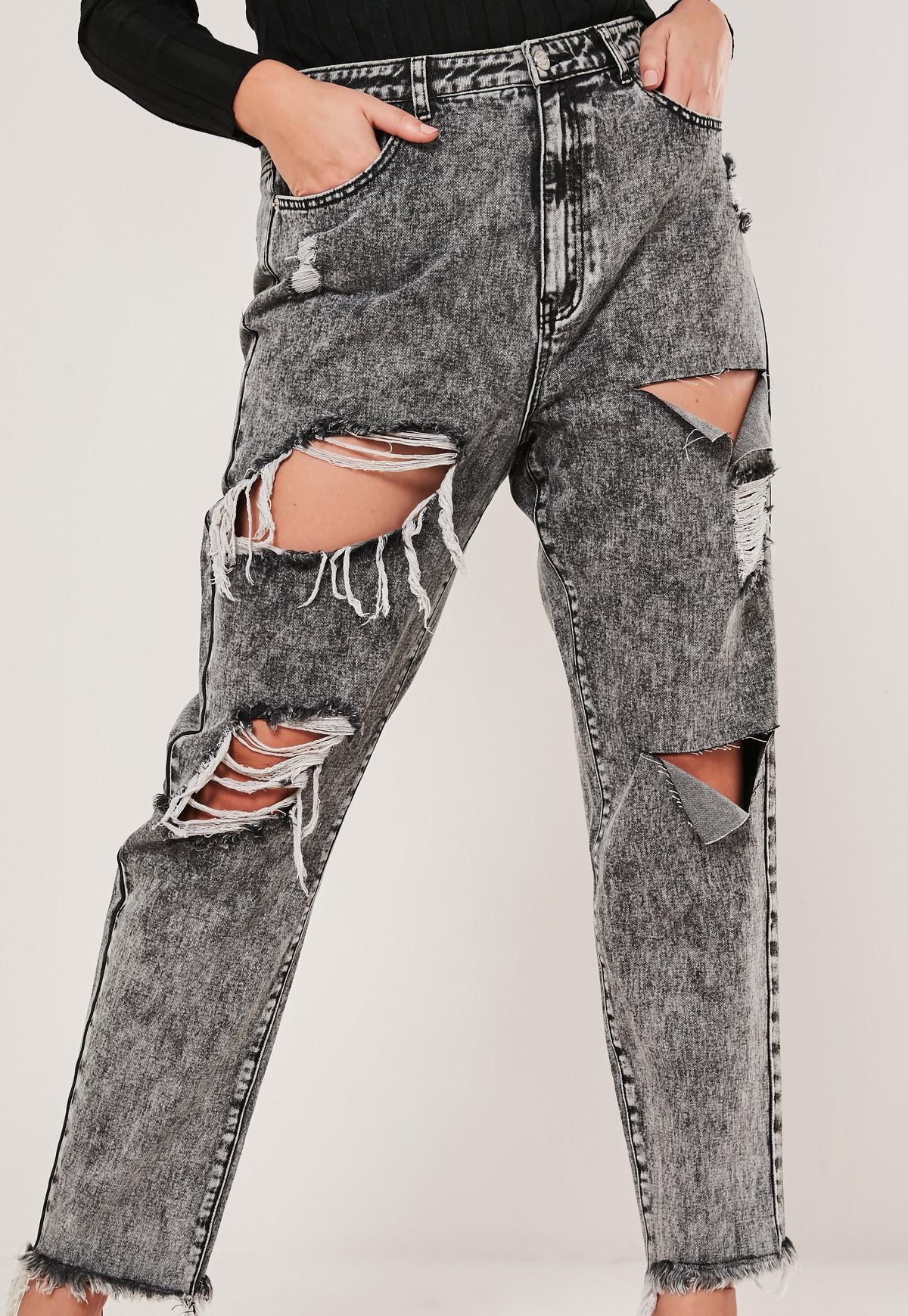 Plus Size Black Acid Wash Distressed Mom Jeans