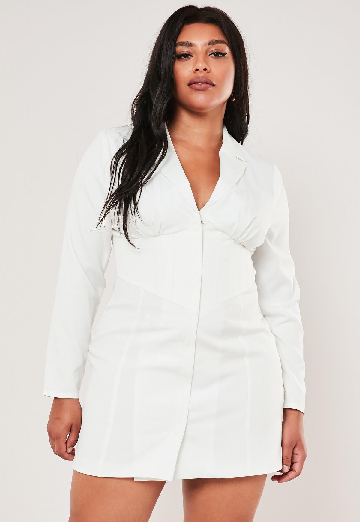 Plus Size Stassie x Missguided White Corset Blazer Dress