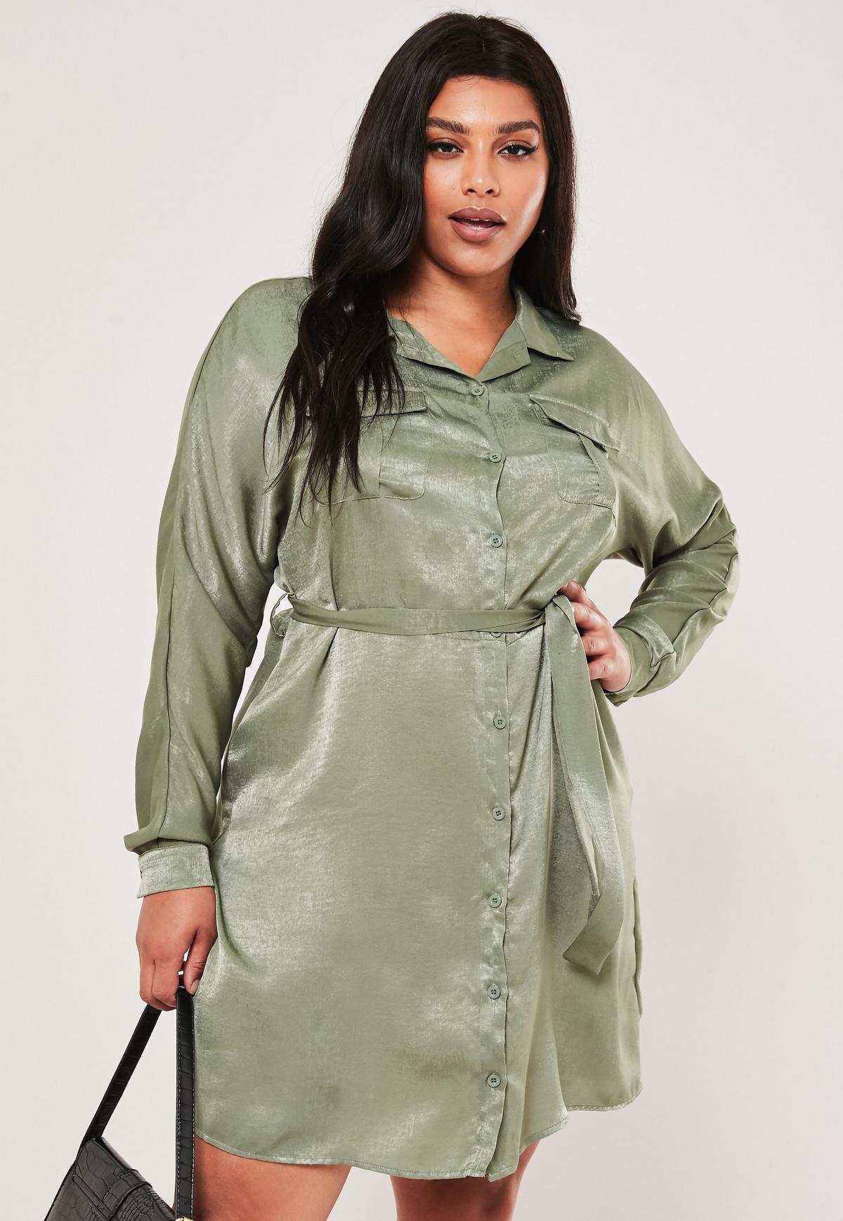 Plus Size Green Hammered Satin Shirt Dress
