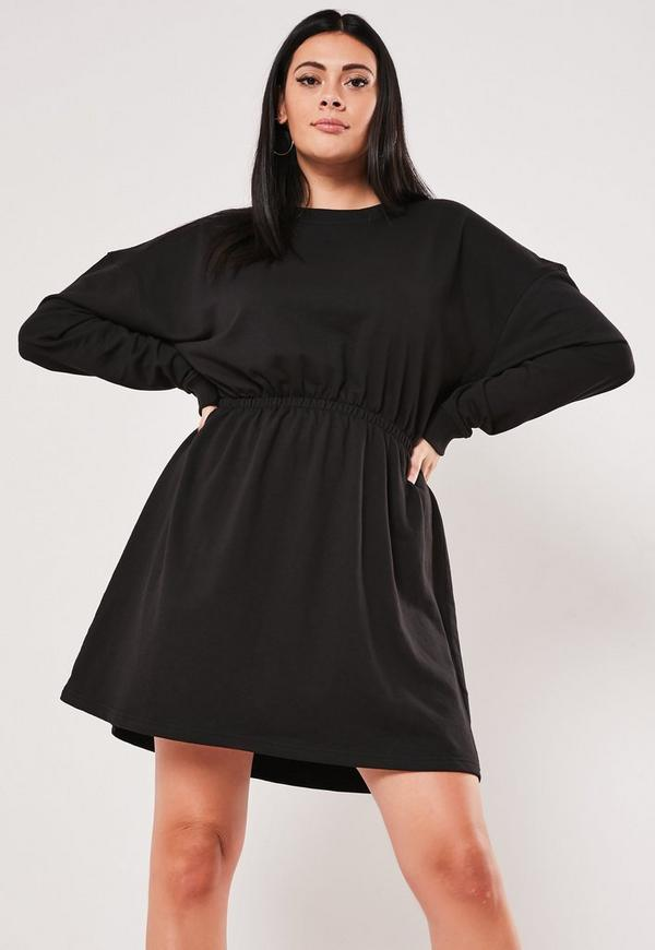 Plus Size Black Ruched Sweater Dress